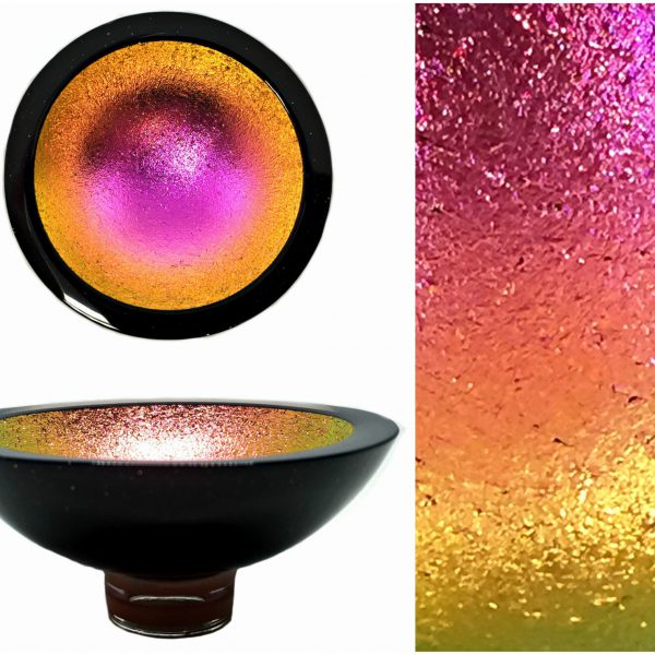 Multichrome Thing of Beauty 3331, dichroic glass bowl by Jo Ludwig   Effusion Art Gallery + Glass Studio, Invermere BC