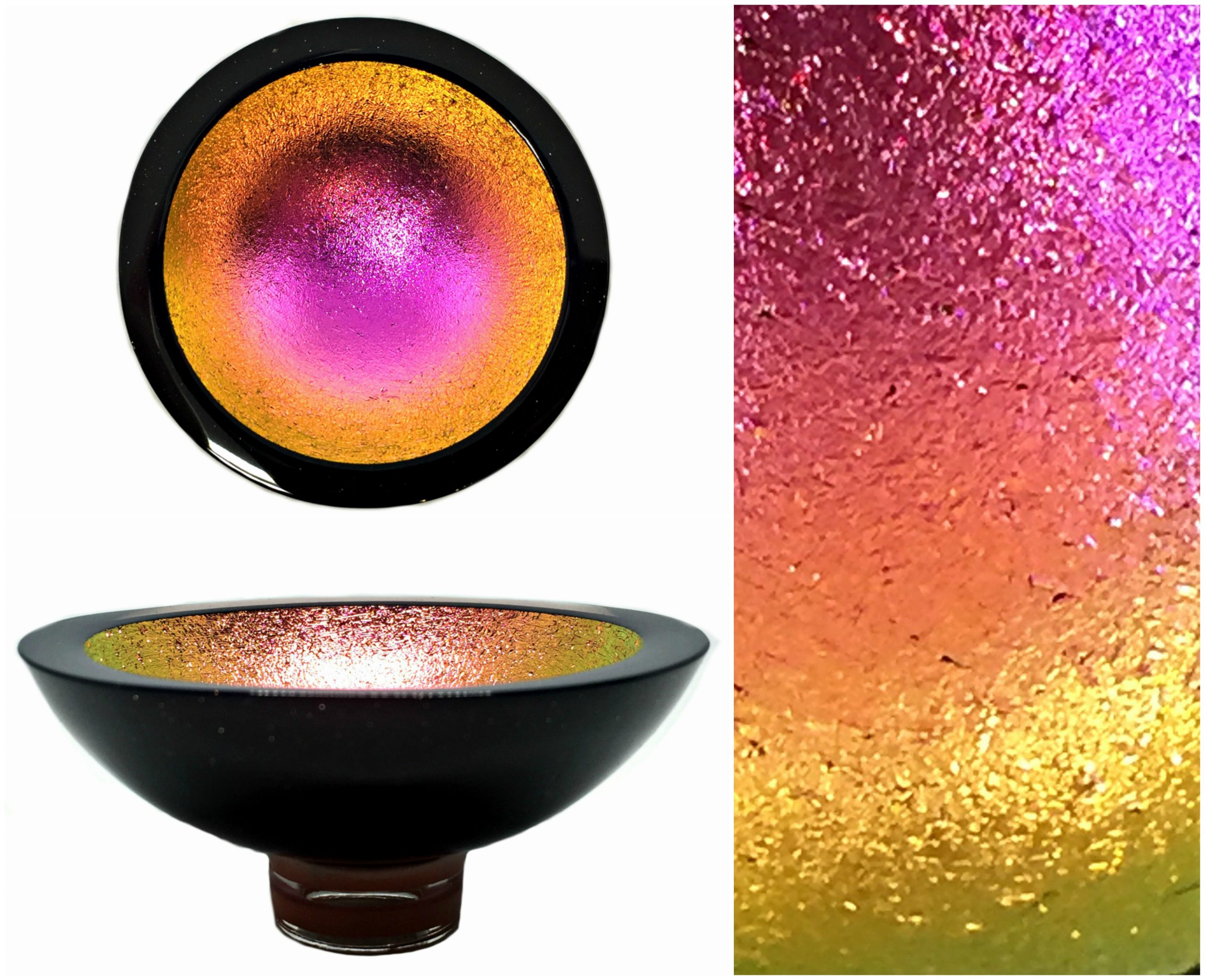 Multichrome Thing of Beauty 3331, dichroic glass bowl by Jo Ludwig | Effusion Art Gallery + Glass Studio, Invermere BC