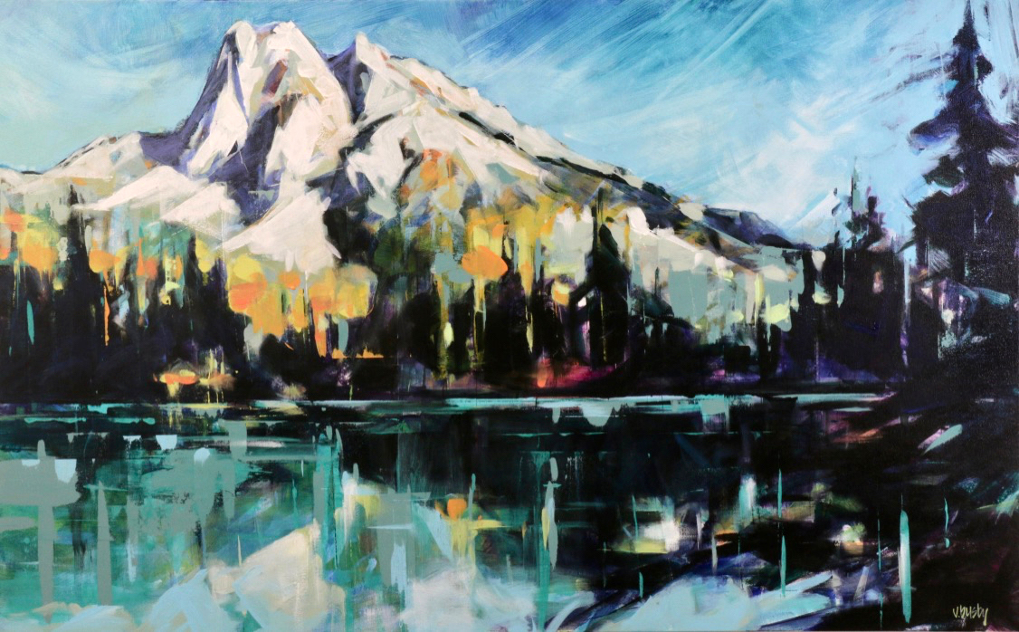 Mount Burgess in Yoho National Park, acrylic painting by Verne Busby | Effusion Art Gallery + Cast Glass Studio, Invermere BC