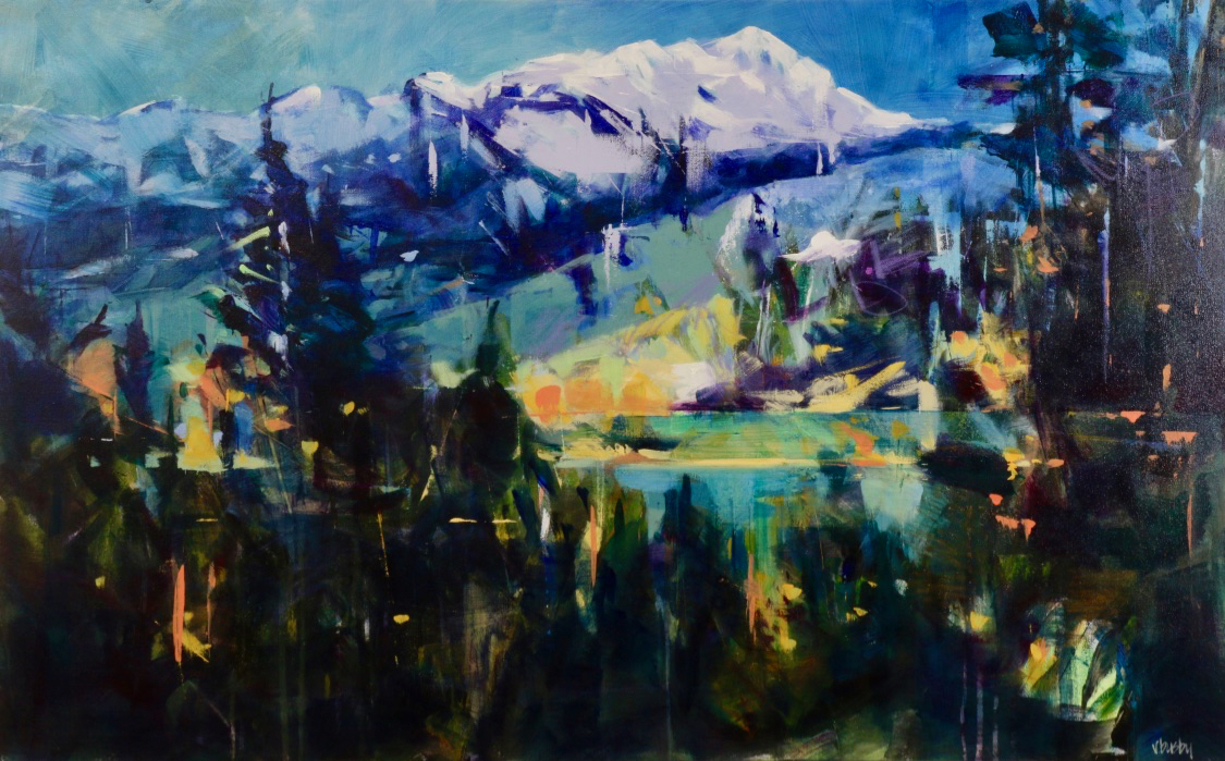 Fairmont Mountain from Coy's Hill, acrylic painting by Verne Busby | Effusion Art Gallery + Cast Glass Studio, Invermere BC