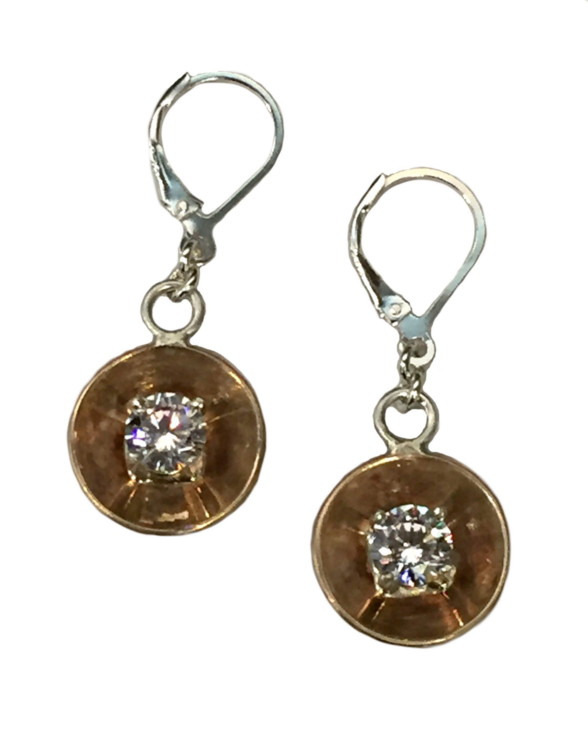 Bronze, Sterling Silver, + CZ Earrings by Karyn Chopik | Effusion Art Gallery + Cast Glass Studio, Invermere BC