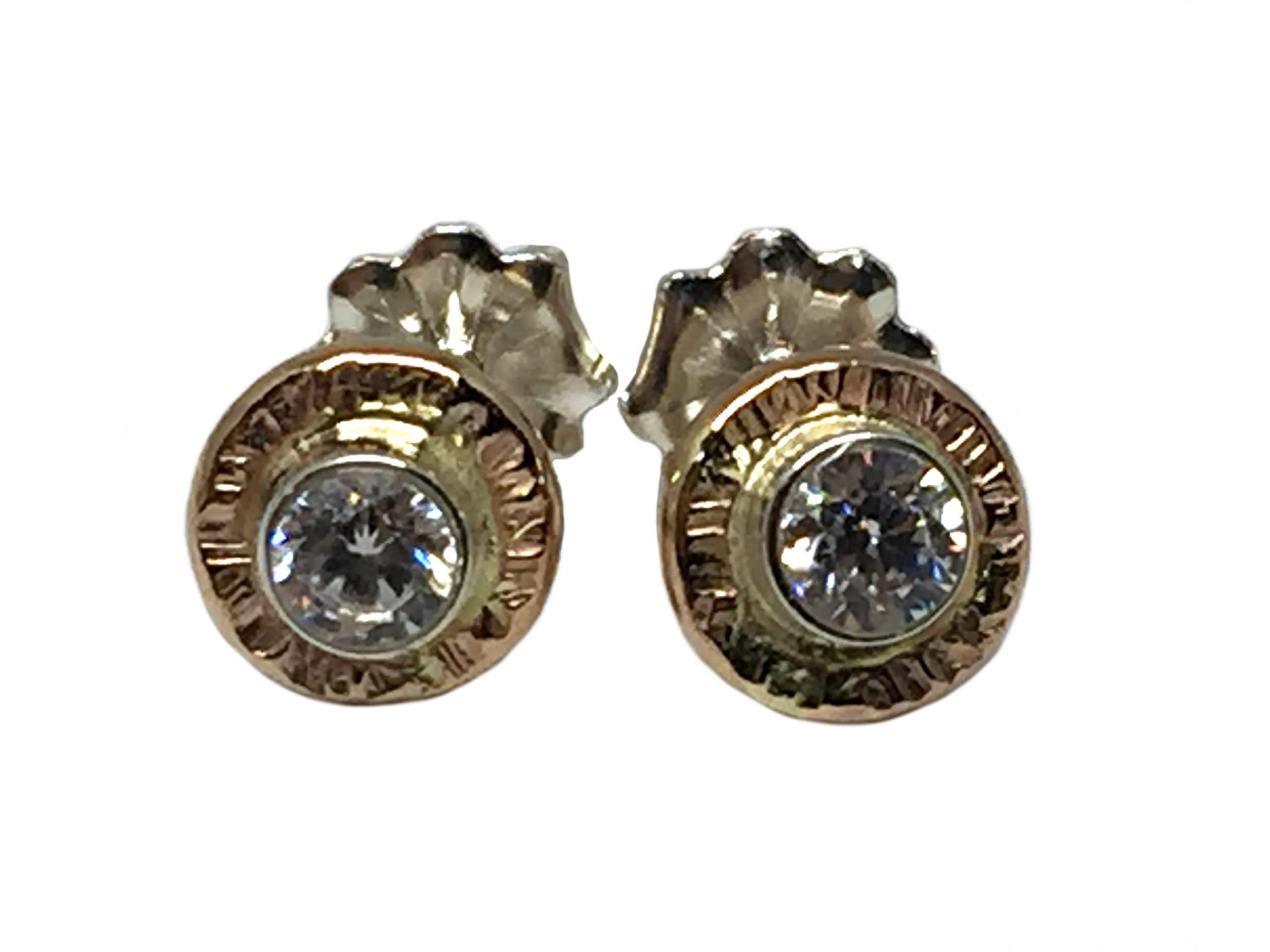 Gold and CZ stud earrings by Karyn Chopik   Effusion Art Gallery + Cast Glass Studio, Invermere BC