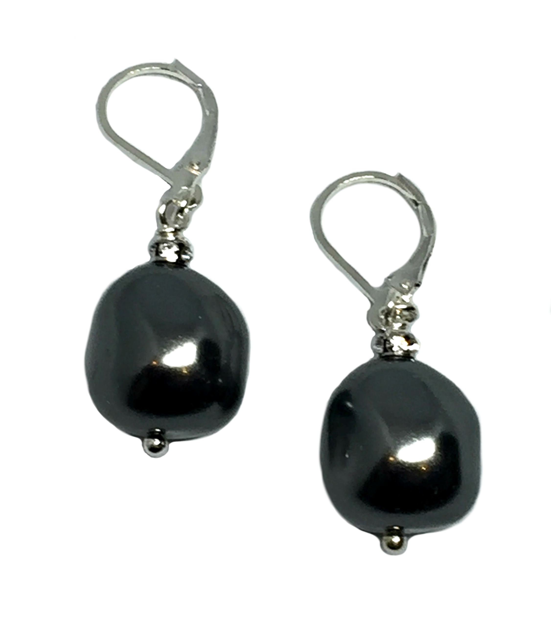 Charcoal Pearl, Sterling silver, and CZ earrings by Karyn Chopik | Effusion Art Gallery + Cast Glass Studio, Invermere BC