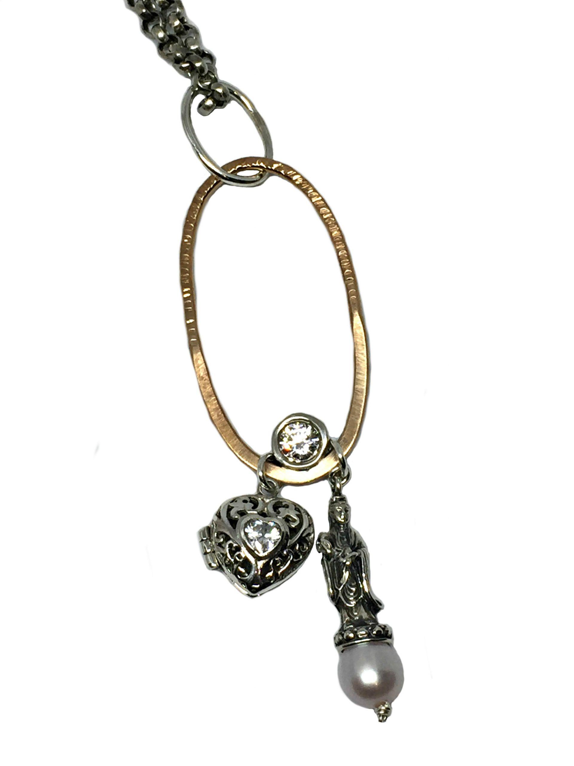 Bronze, Sterling Silver, Pearl, + CZ Locket Pendant by Karyn Chopik | Effusion Art Gallery + Cast Glass Studio, Invermere BC