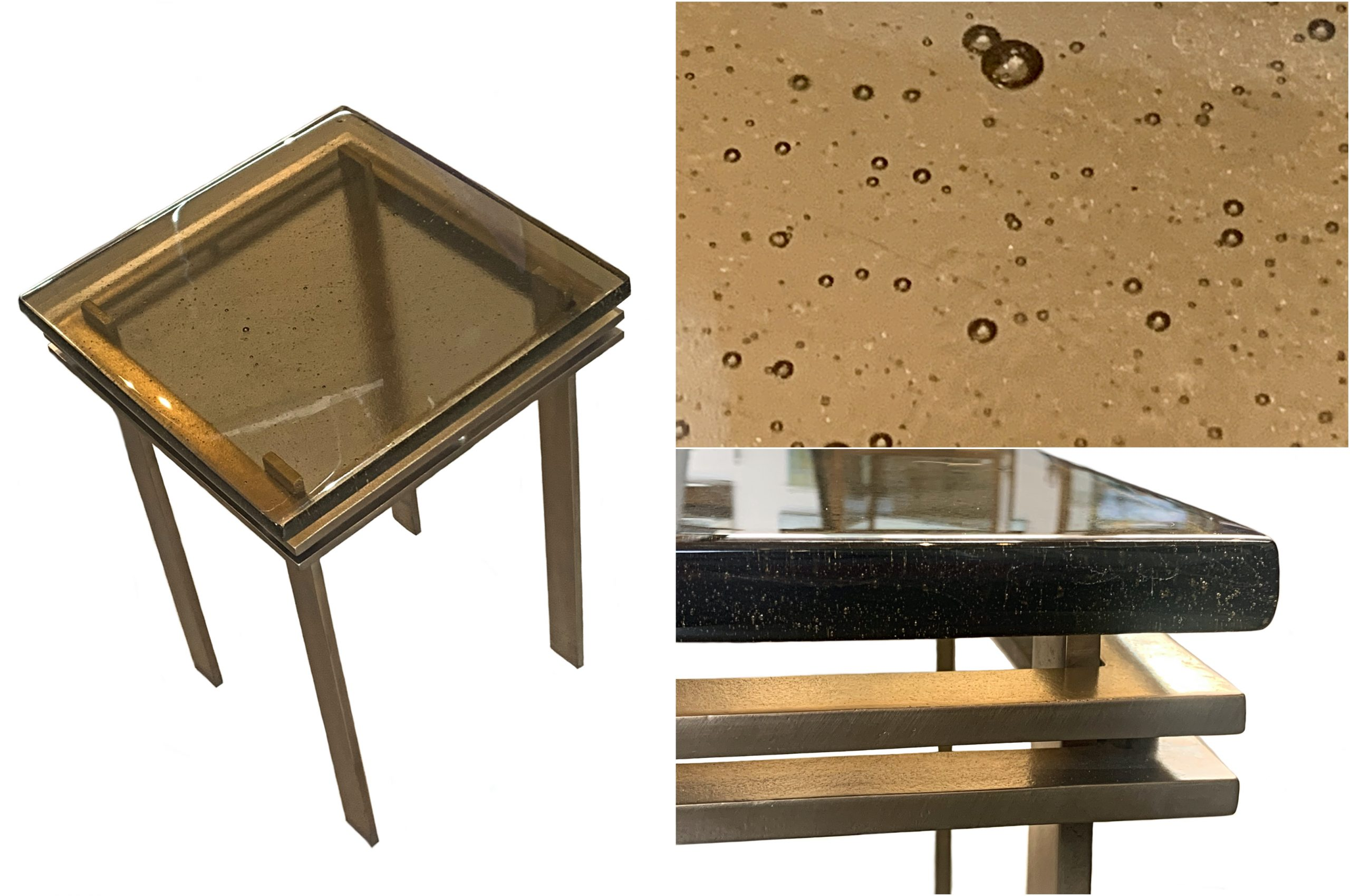 Cast glass and bronze side table by Heather Cuell | Effusion Art Gallery + Cast Glass Studio, Invermere BC
