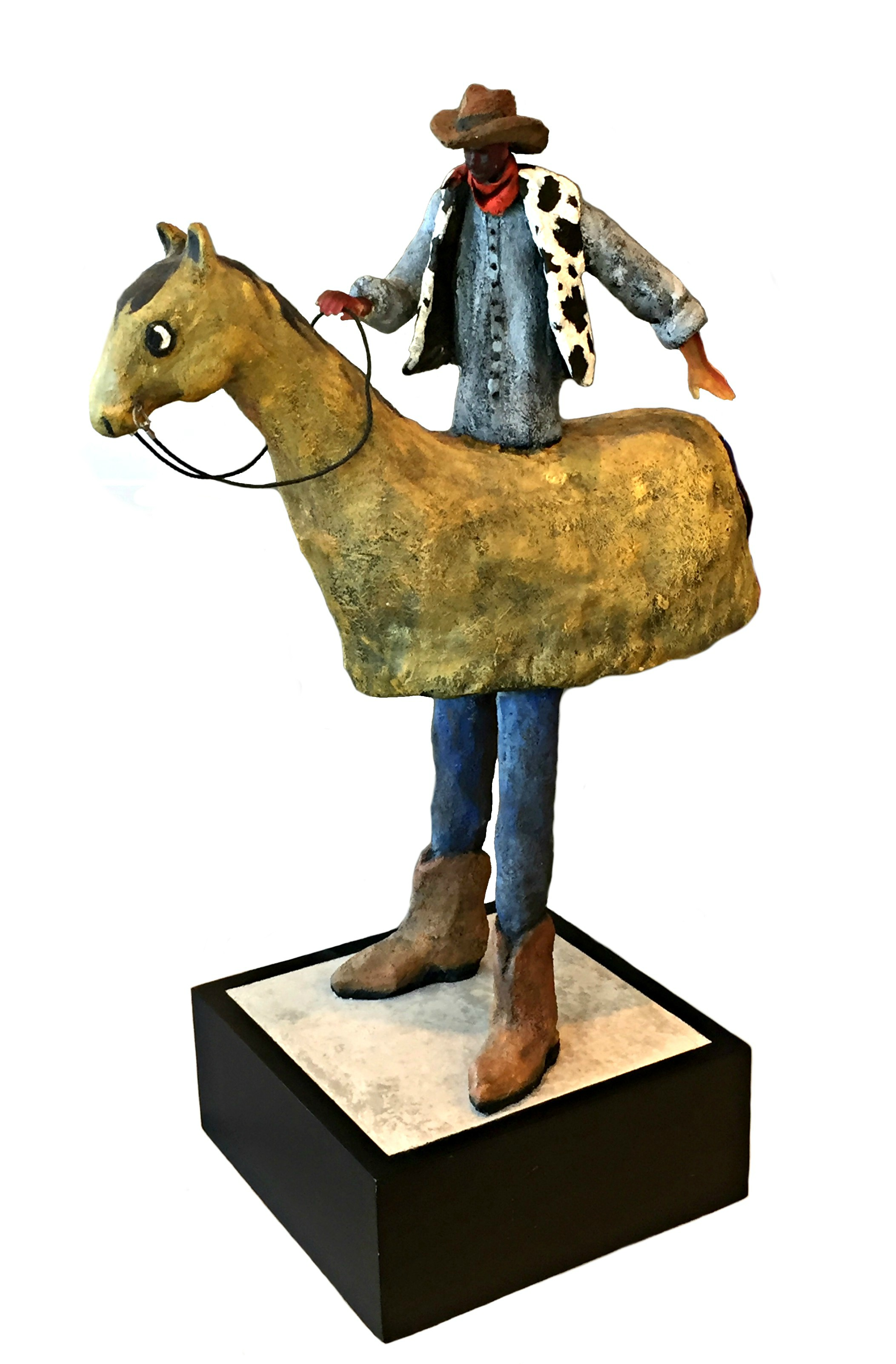 Giddy Up, glass and concrete cowboy sculpture by Connie Geerts | Effusion Art Gallery + Cast Glass Studio, Invermere BC