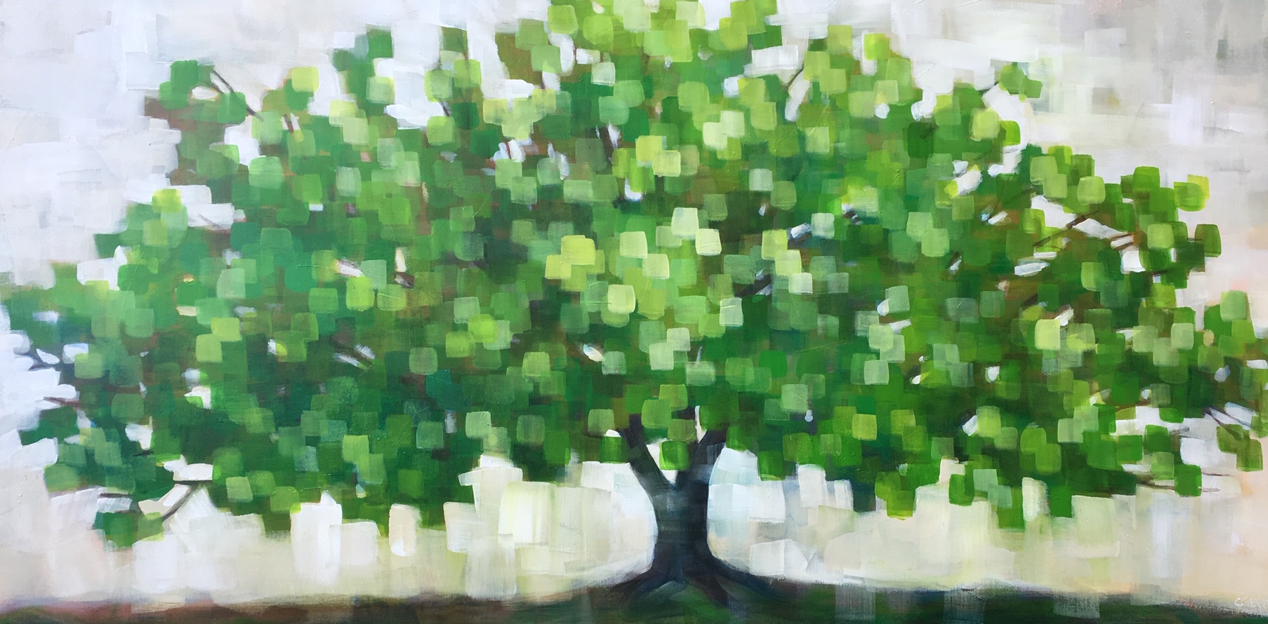 I Dream of Green, acrylic painting by Connie Geerts | Effusion Art Gallery + Cast Glass Studio, Invermere BC