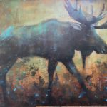 On the Move, acrylic moose painting by Connie Geerts   Effusion Art Gallery + Cast Glass Studio, Invermere BC