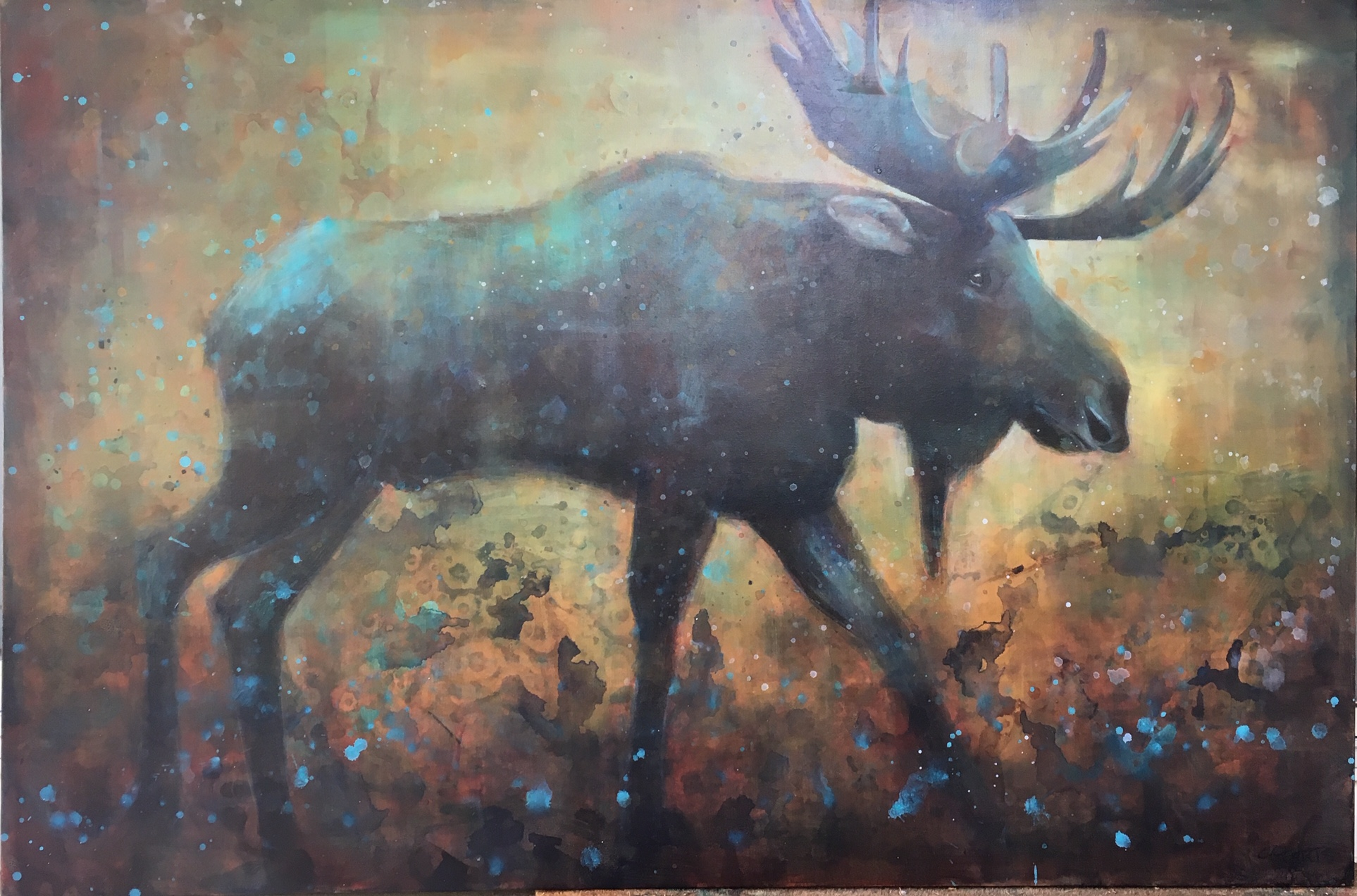 On the Move, acrylic moose painting by Connie Geerts | Effusion Art Gallery + Cast Glass Studio, Invermere BC