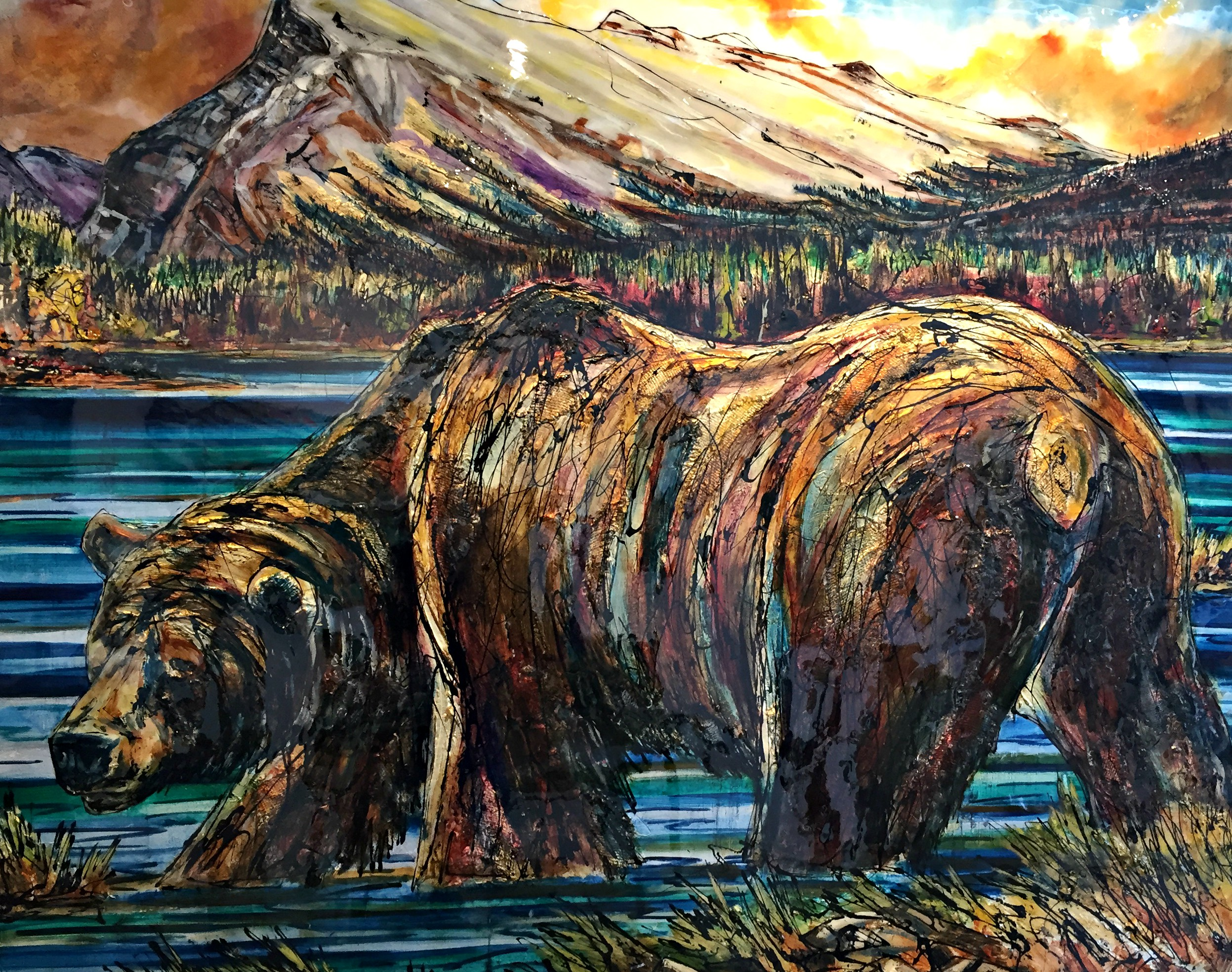 The Boss, mixed media bear painting by David Zimmerman | Effusion Art Gallery + Cast Glass Studio, Invermere BC