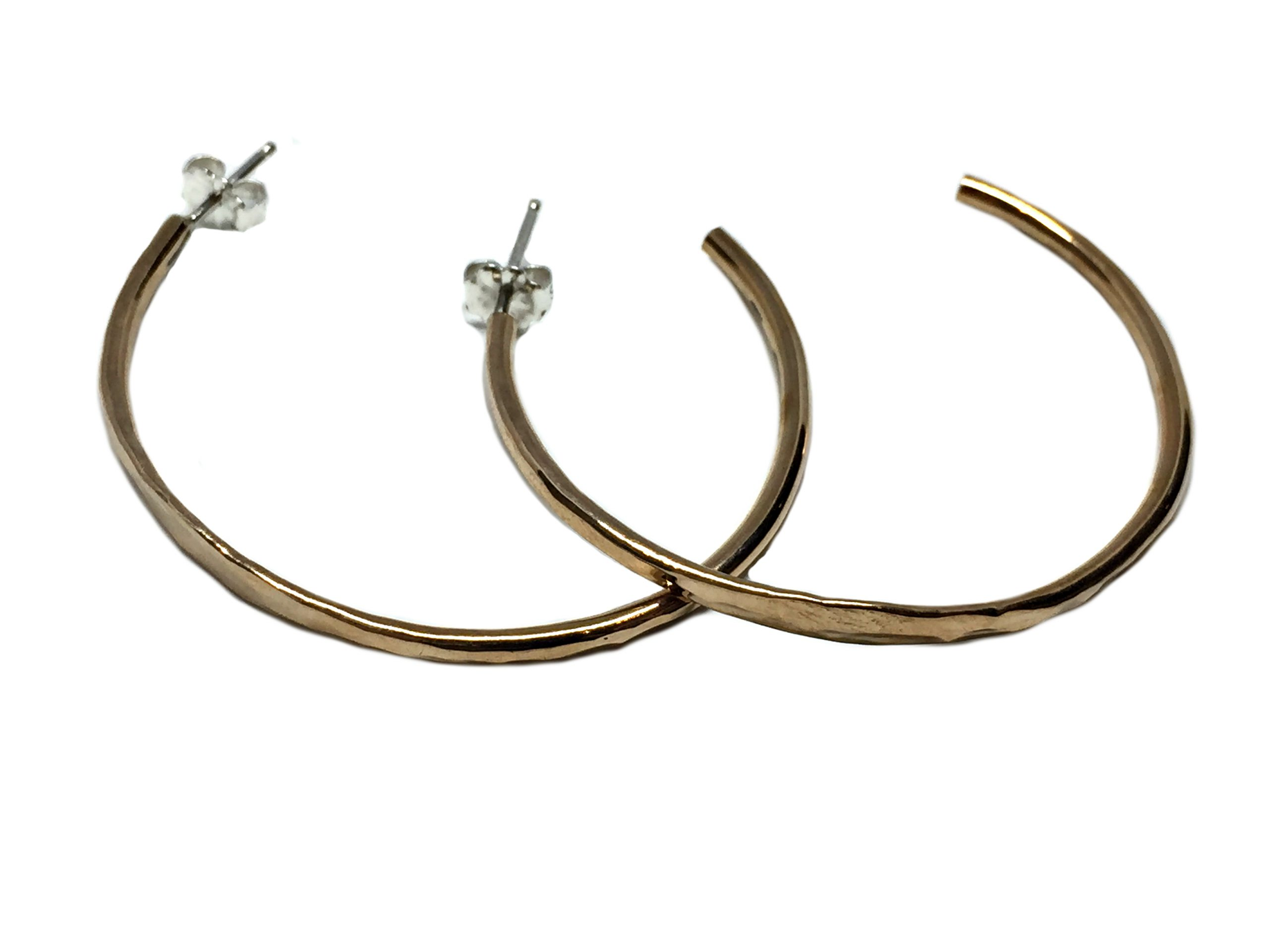 Medium Bronze Hammered Hoop Earrings by Karyn Chopik | Effusion Art Gallery + Cast Glass Studio, Invermere BC