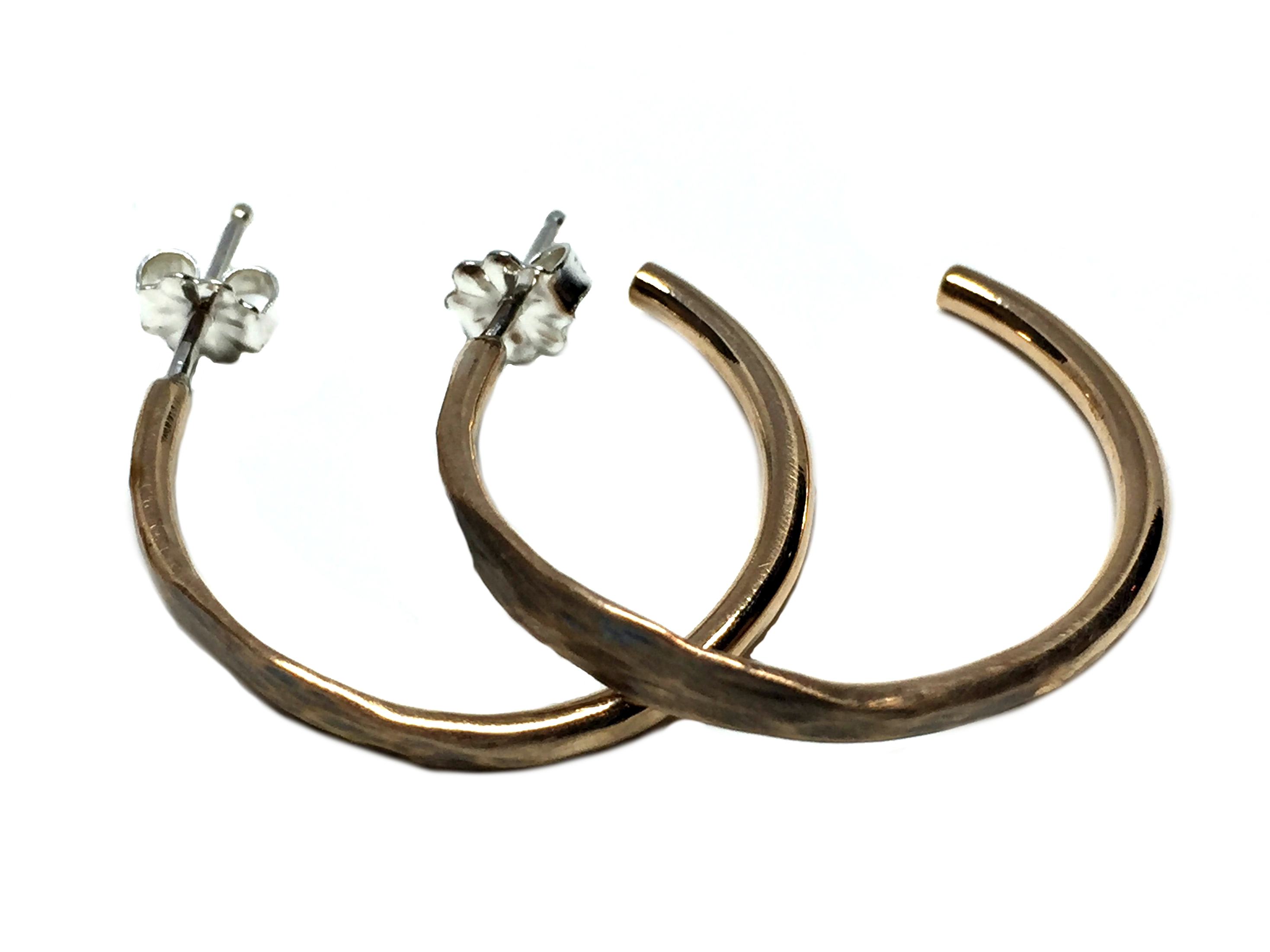 Small Bronze Hammered Hoop Earrings by Karyn Chopik | Effusion Art Gallery + Cast Glass Studio, Invermere BC