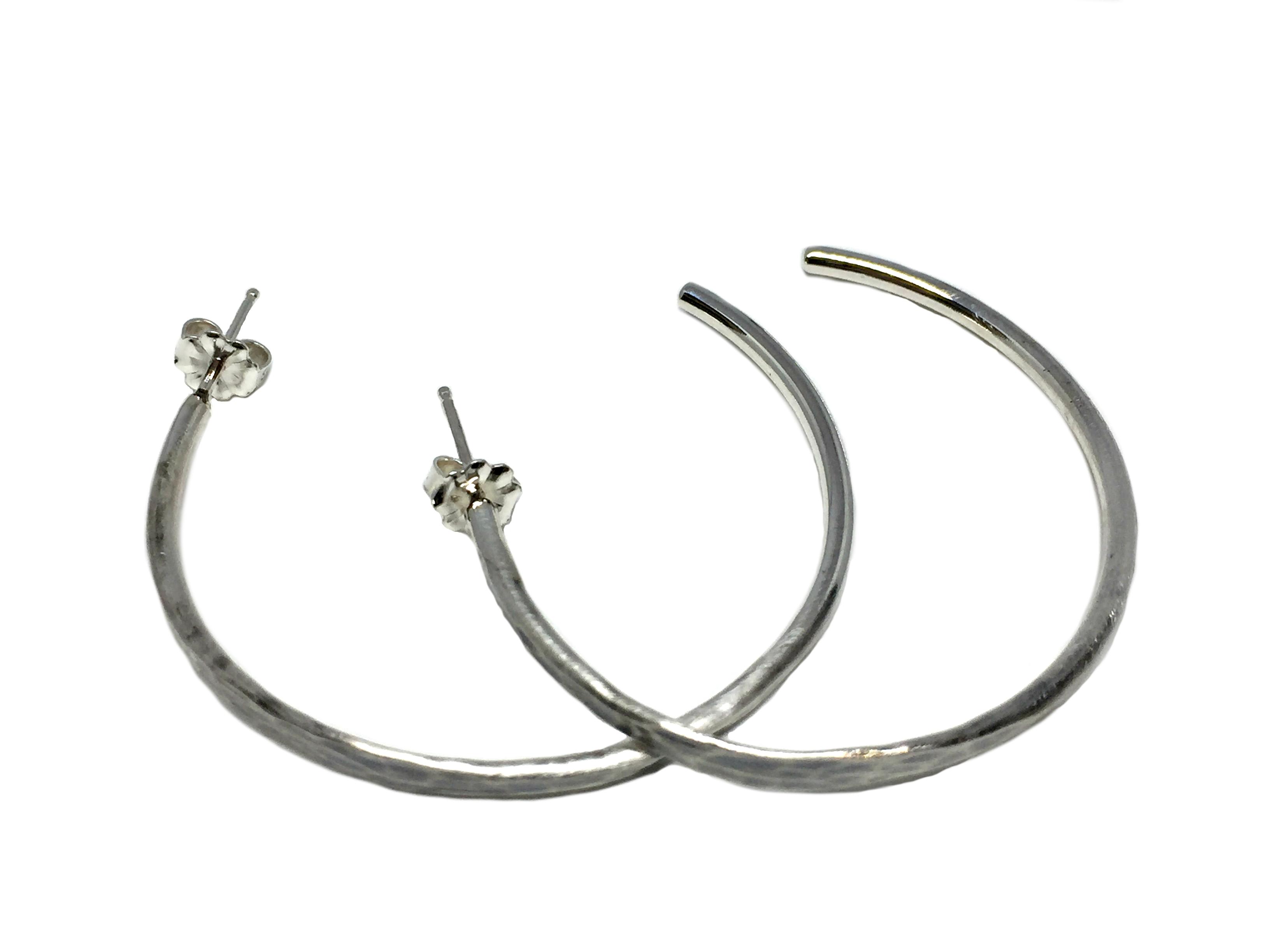 Medium Sterling Silver Hammered Hoop Earrings by Karyn Chopik | Effusion Art Gallery + Cast Glass Studio, Invermere BC