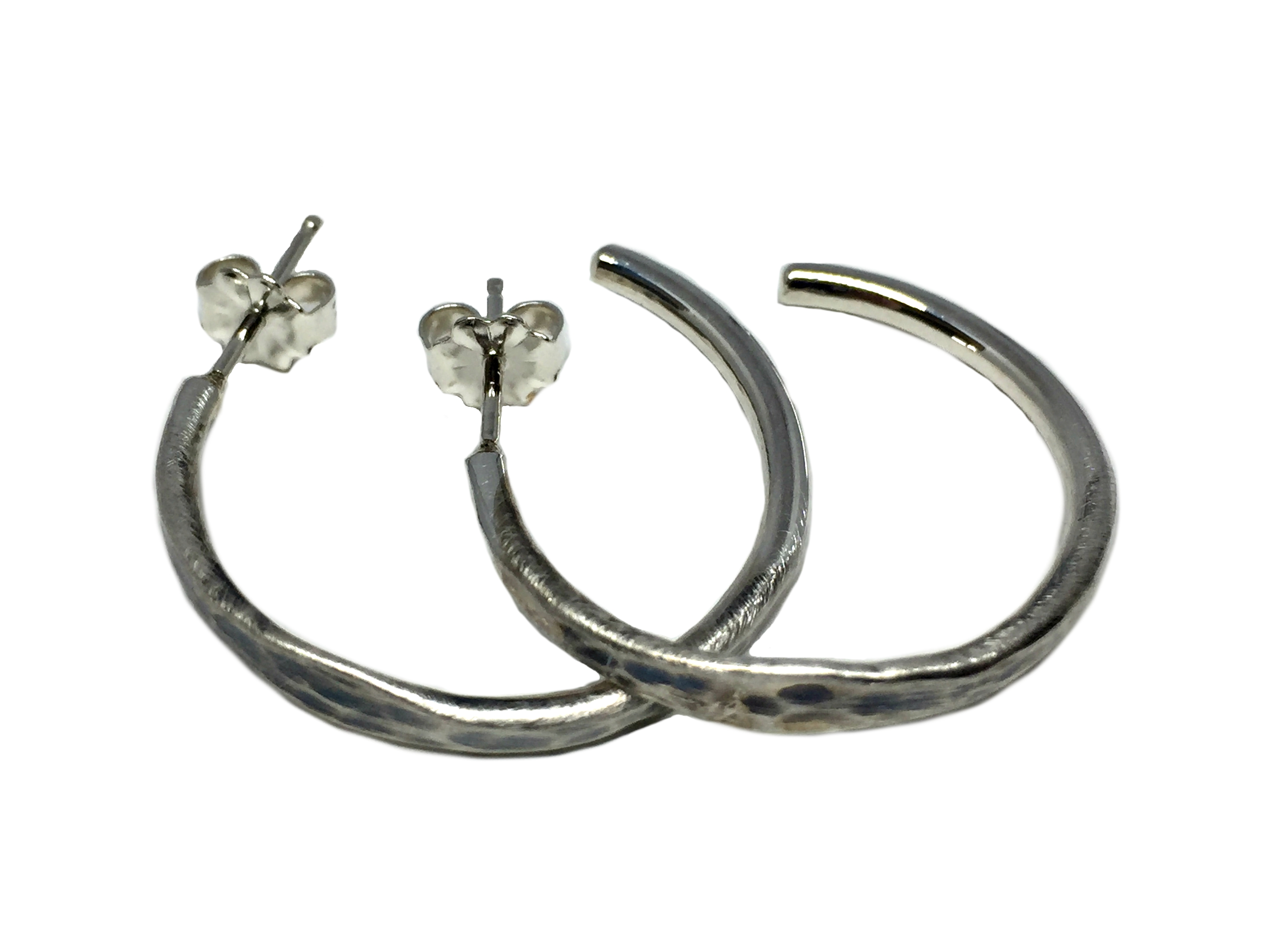 Small Sterling Silver Hammered Hoop Earrings by Karyn Chopik | Effusion Art Gallery + Cast Glass Studio, Invermere BC