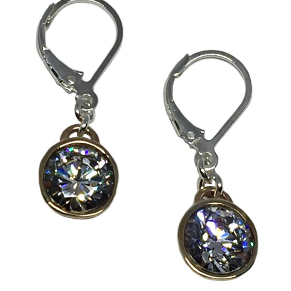Bronze, sterling silver, + CZ Karyn Chopik drop earrings | Effusion Art Gallery + Cast Glass Studio, Invermere BC