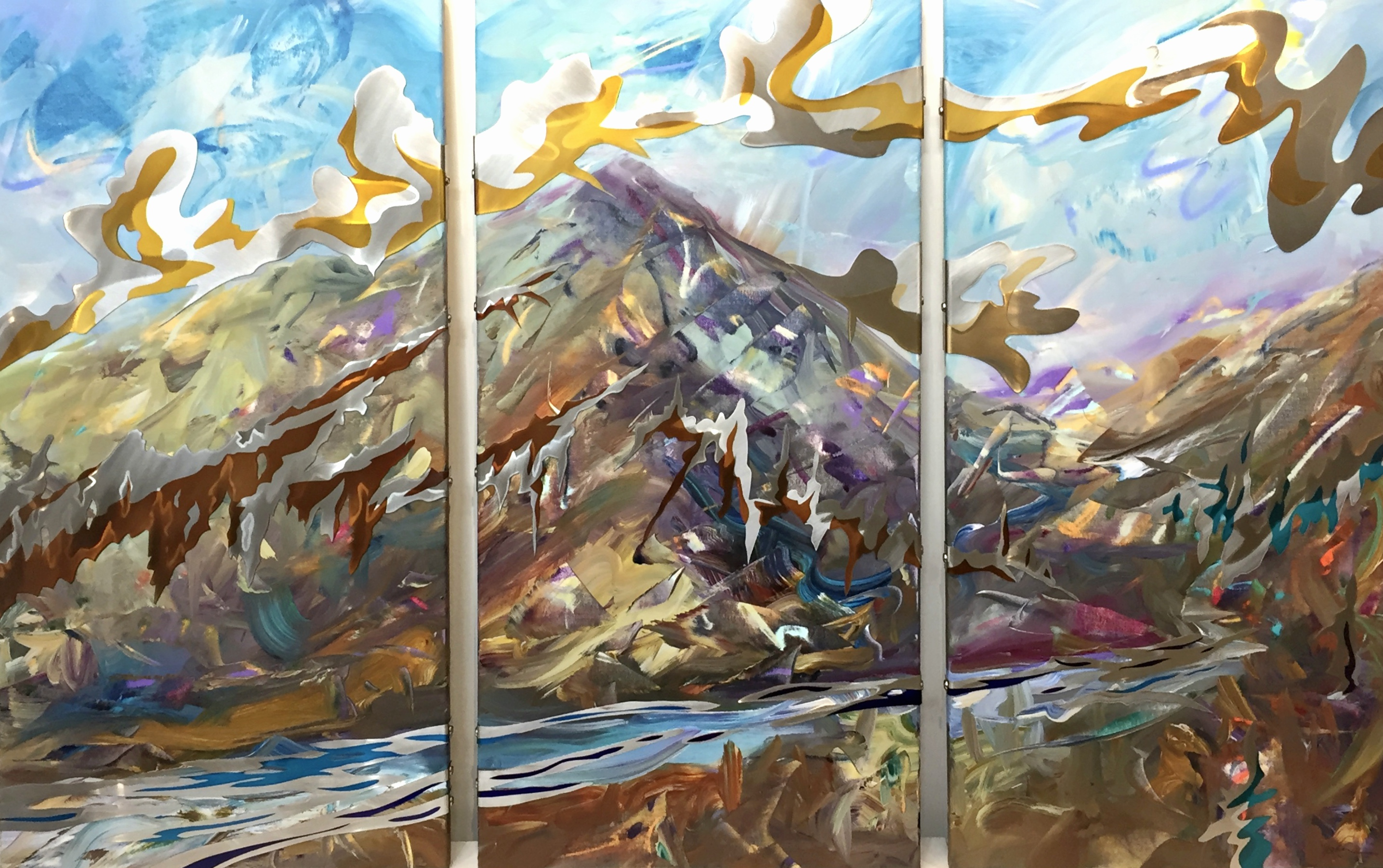Alpine Passage, mixed media landscape painting by Joel Masewich | Effusion Art Gallery + Cast Glass Studio, Invermere BC