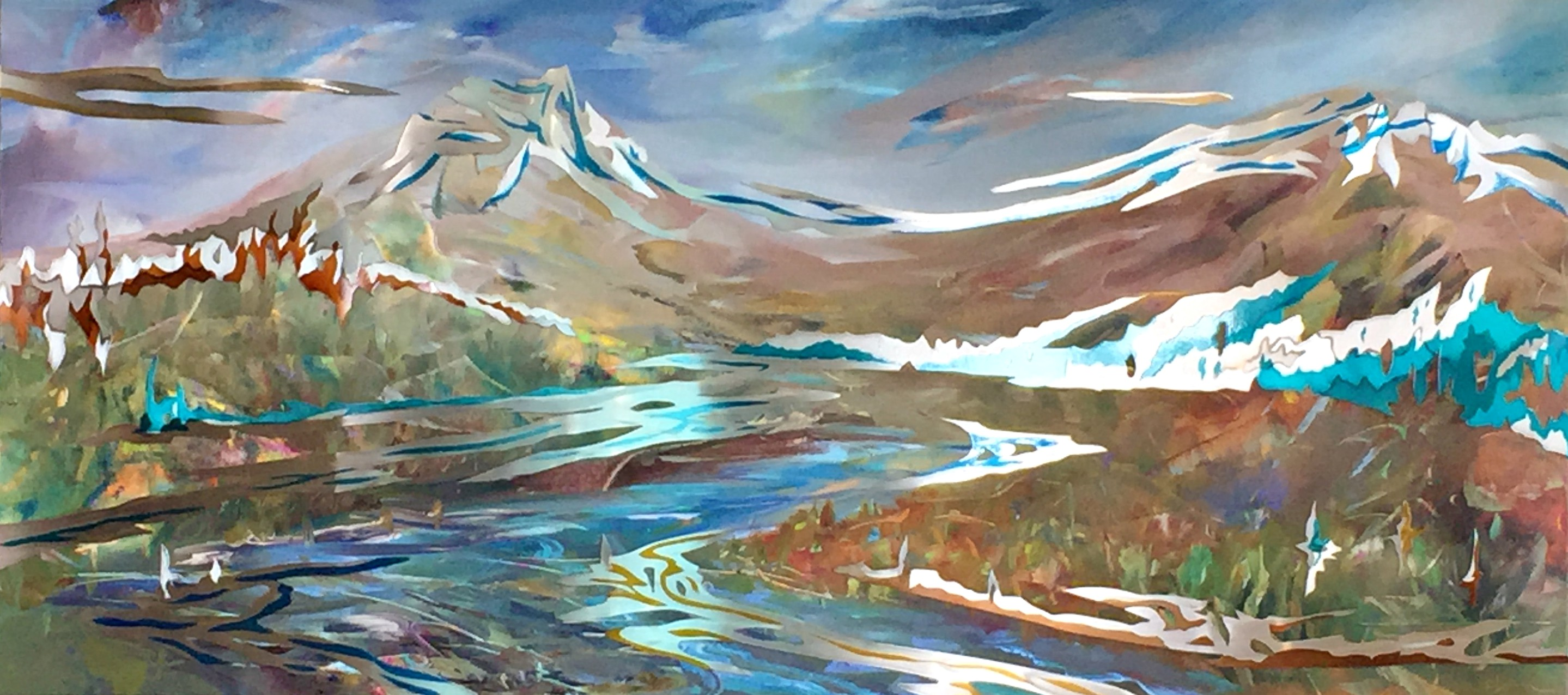 Cascade Light, mixed media painting by Joel Masewich | Effusion Art Gallery + Cast Glass Studio, Invermere BC