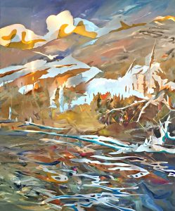 Vermillion Crossing, mixed media landscape painting by Joel Masewich   Effusion Art Gallery + Cast Glass Studio, Invermere BC
