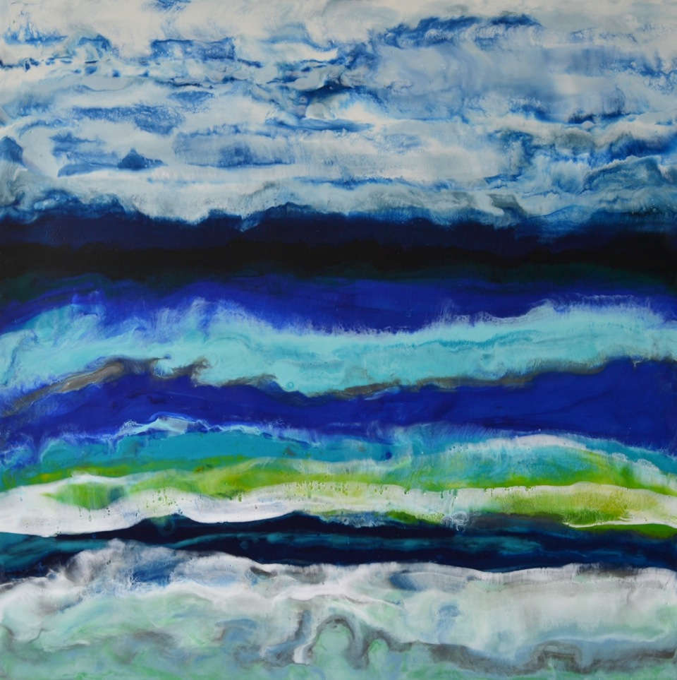 Orford Lake, encaustic painting by Marie-Danielle Leblanc | Effusion Art Gallery + Cast Glass Studio, Invermere BC