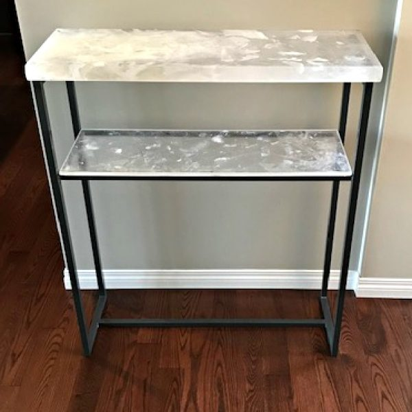 Custom cast glass and powder-coated steel table by Heather Cuell | Effusion Art Gallery + Cast Glass Studio, Invermere BC