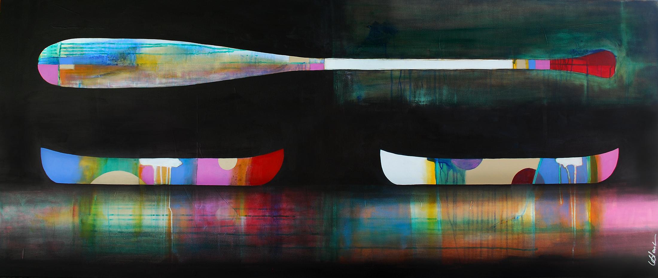 La Lenteur de l'été, mixed media painting by Sylvain Leblanc | Effusion Art Gallery + Cast Glass Studio, Invermere BC