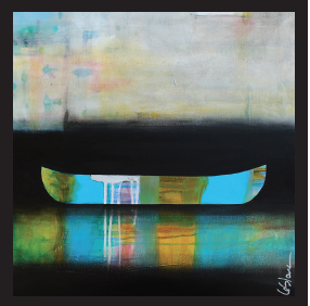 Le Vertige des Bleus, mixed media painting by Sylvain Leblanc | Effusion Art Gallery + Cast Glass Studio, Invermere BC
