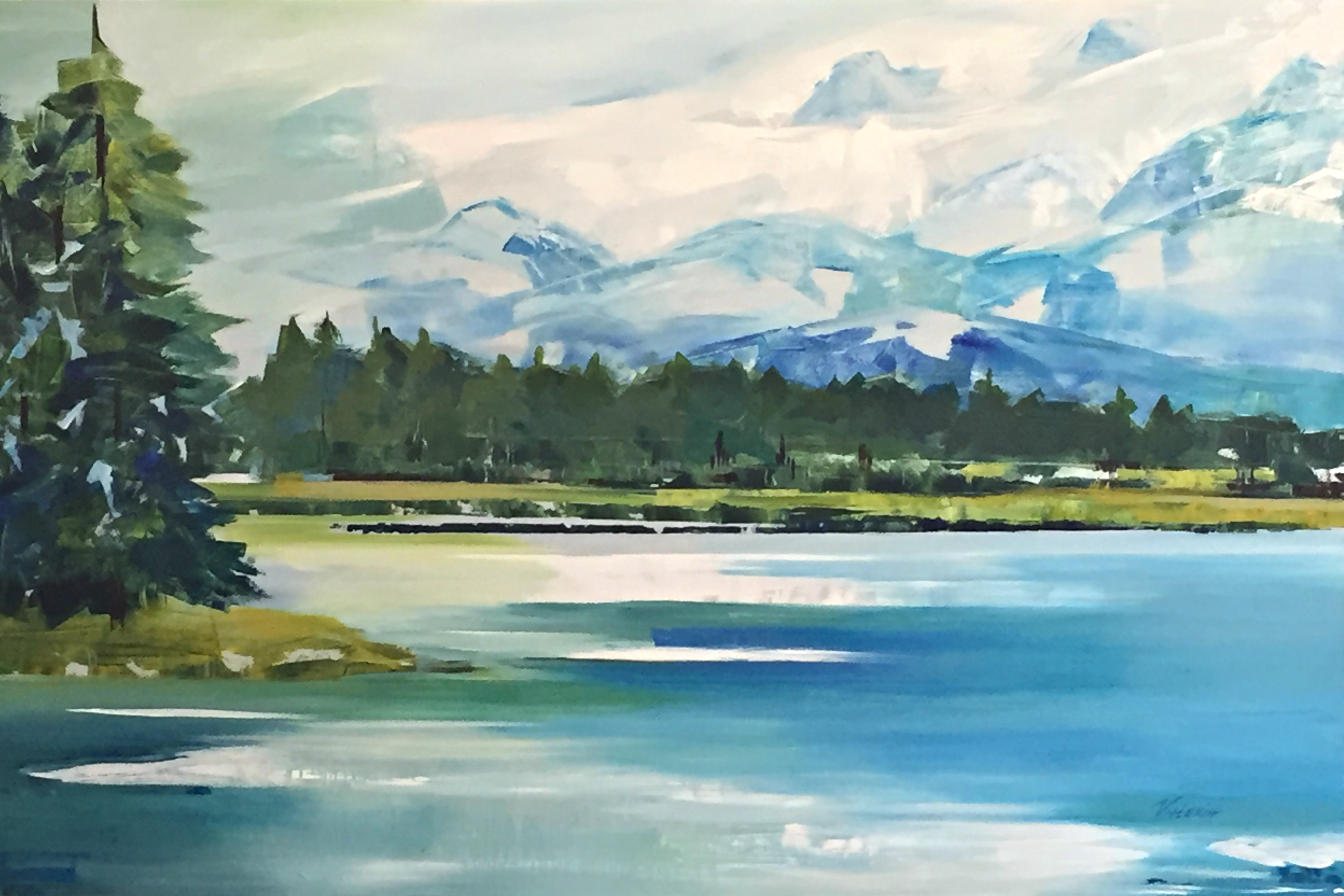 Glorious and Free, acrylic painting by Valeria Mravyan | Effusion Art Gallery + Cast Glass Studio, Invermere BC