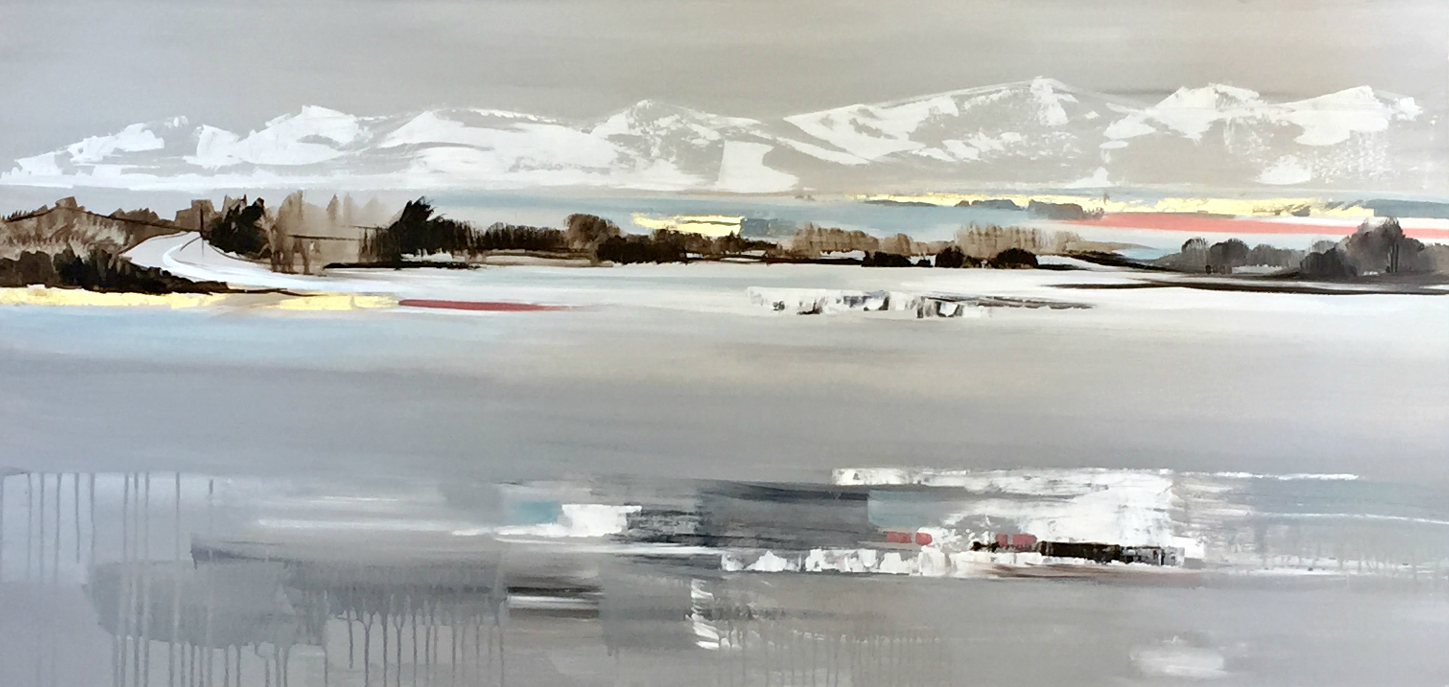 Snow Capped Mountains, acrylic painting by Valeria Mravyan | Effusion Art Gallery + Cast Glass Studio, Invermere BC