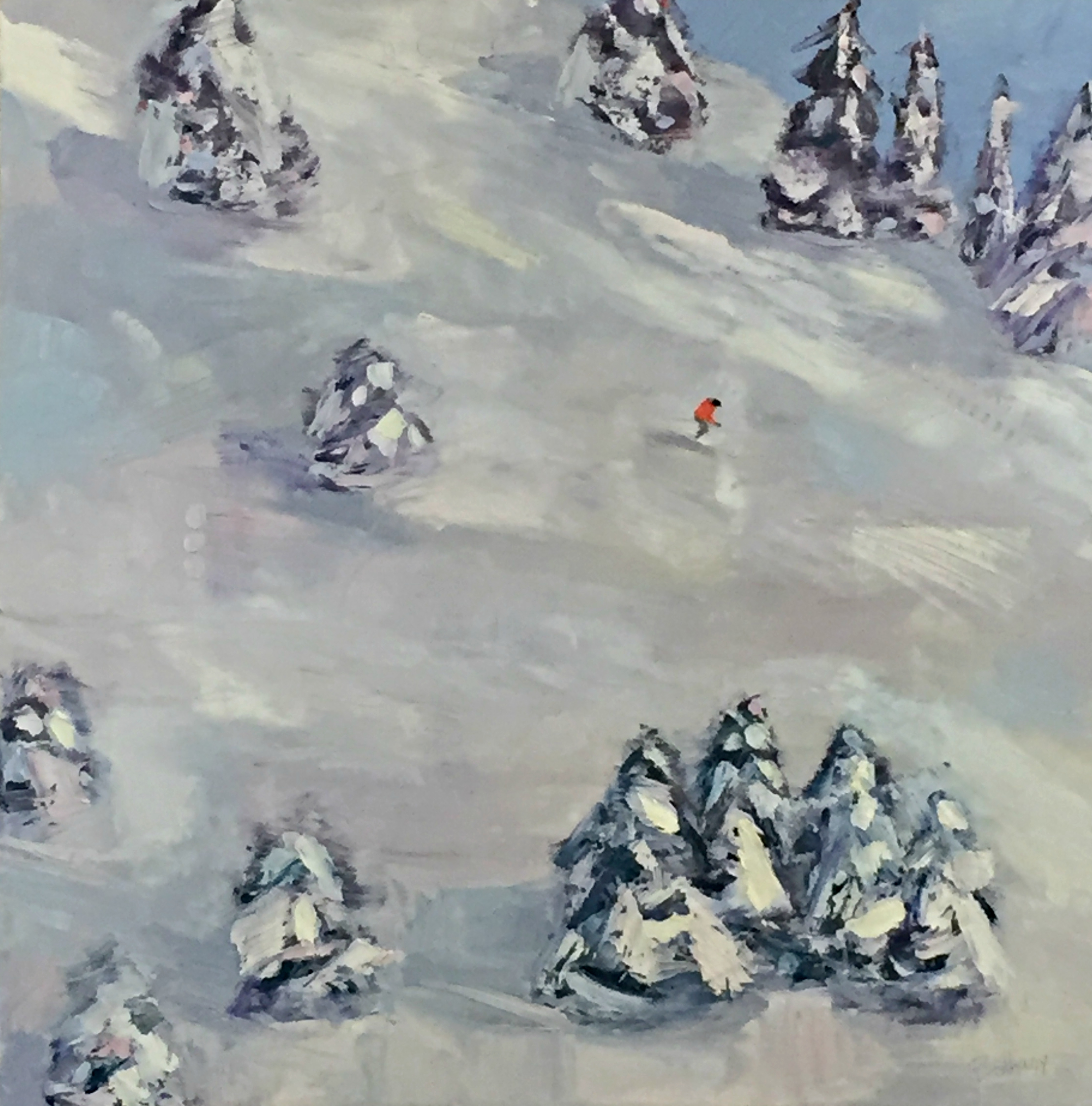 Powder Day, ski painting by Bethany Harper Williams | Effusion Art Gallery + Cast Glass Studio, Invermere BC