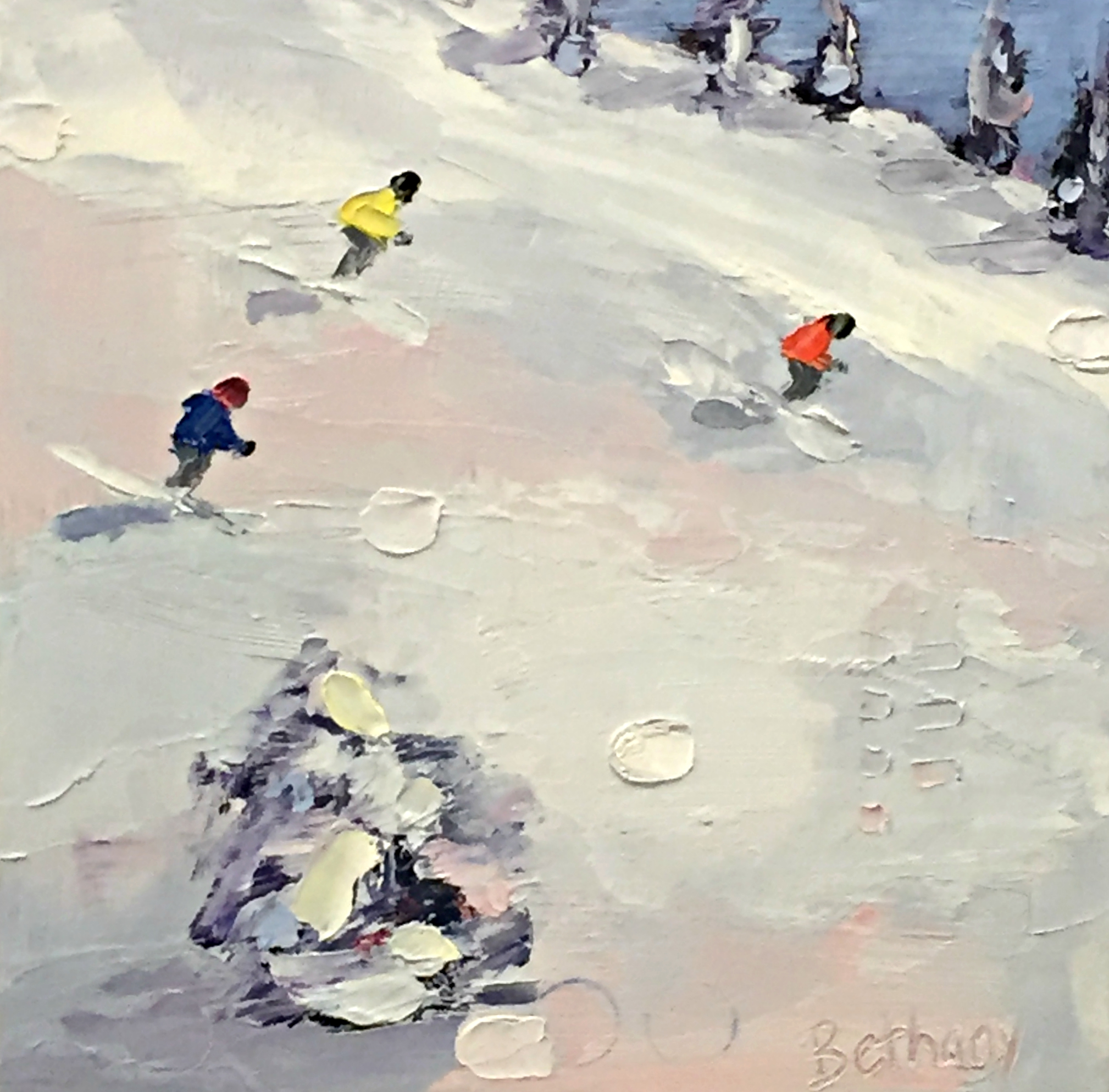 Snow Day 1, ski painting by Bethany Harper Williams | Effusion Art Gallery + Cast Glass Studio, Invermere BC