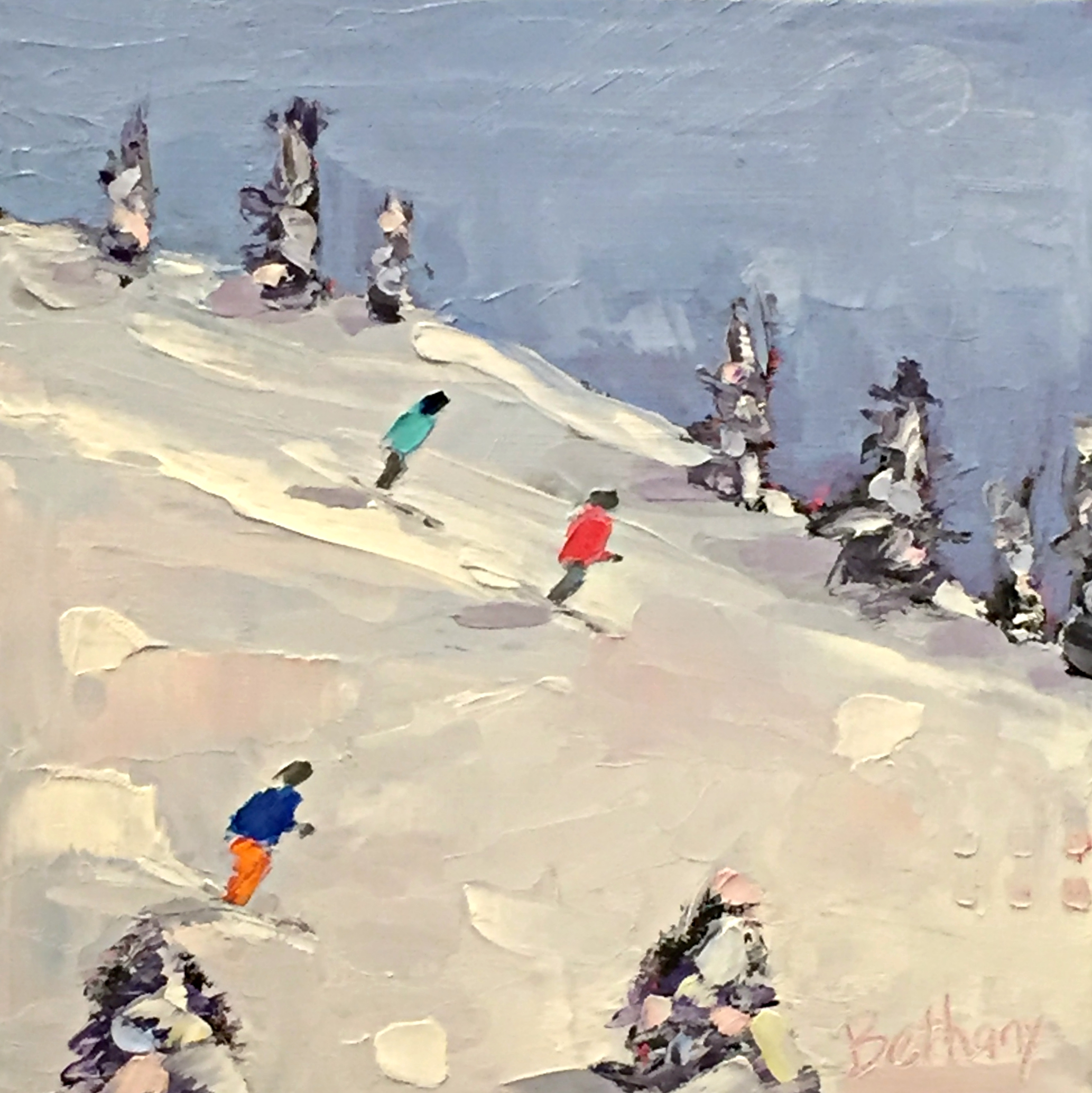 Snow Day 2, ski painting by Bethany Harper Williams | Effusion Art Gallery + Cast Glass Studio, Invermere BC