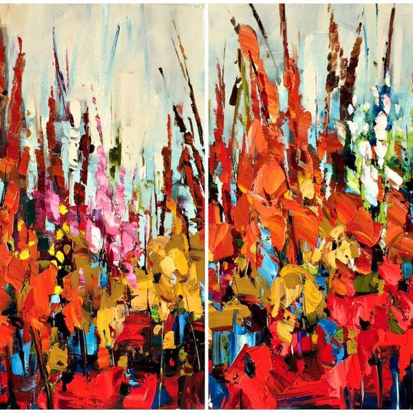 Kiel.Having Their Fun, oil wildflower painting   Effusion Art Gallery + Cast Glass Studio, Invermere BC