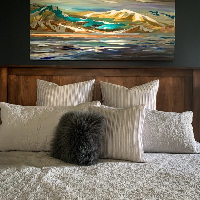 Western Evening, mixed media painting by Joel Masewich, installed in its gorgeous new home | Effusion Art Gallery + Cast Glass Studio, Invermere BC