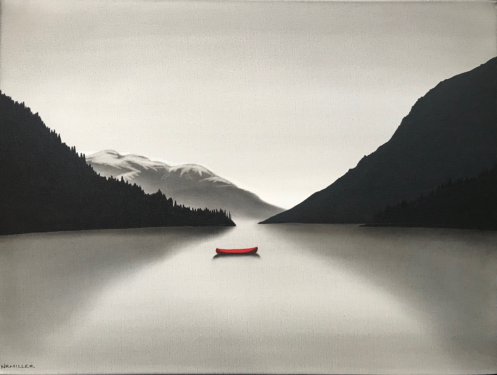 Losing Yourself on a Lake, mixed media painting by Natasha Miller | Effusion Art Gallery + Cast Glass Studio, Invermere BC