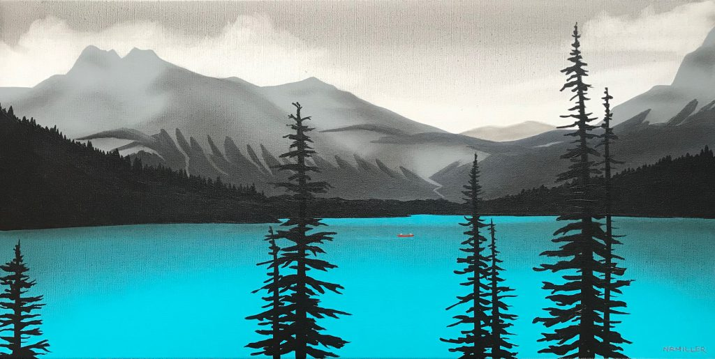 The Allure of Emerald Lake, mixed media painting by Natasha Miller   Effusion Art Gallery + Cast Glass Studio, Invermere BC