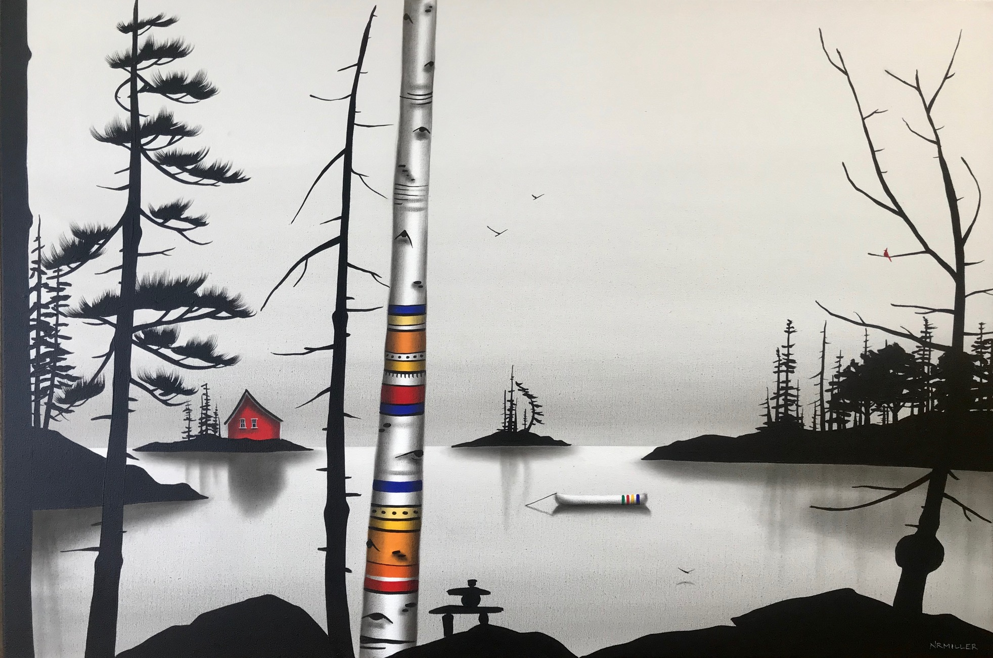 There is No Song I Could Sing, mixed media painting by Natasha Miller | Effusion Art Gallery + Cast Glass Studio, Invermere BC