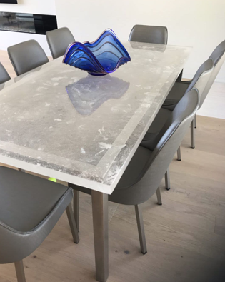 Custom cast glass dining room table by Heather Cuell | Effusion Art Gallery + Cast Glass Studio, Invermere BC