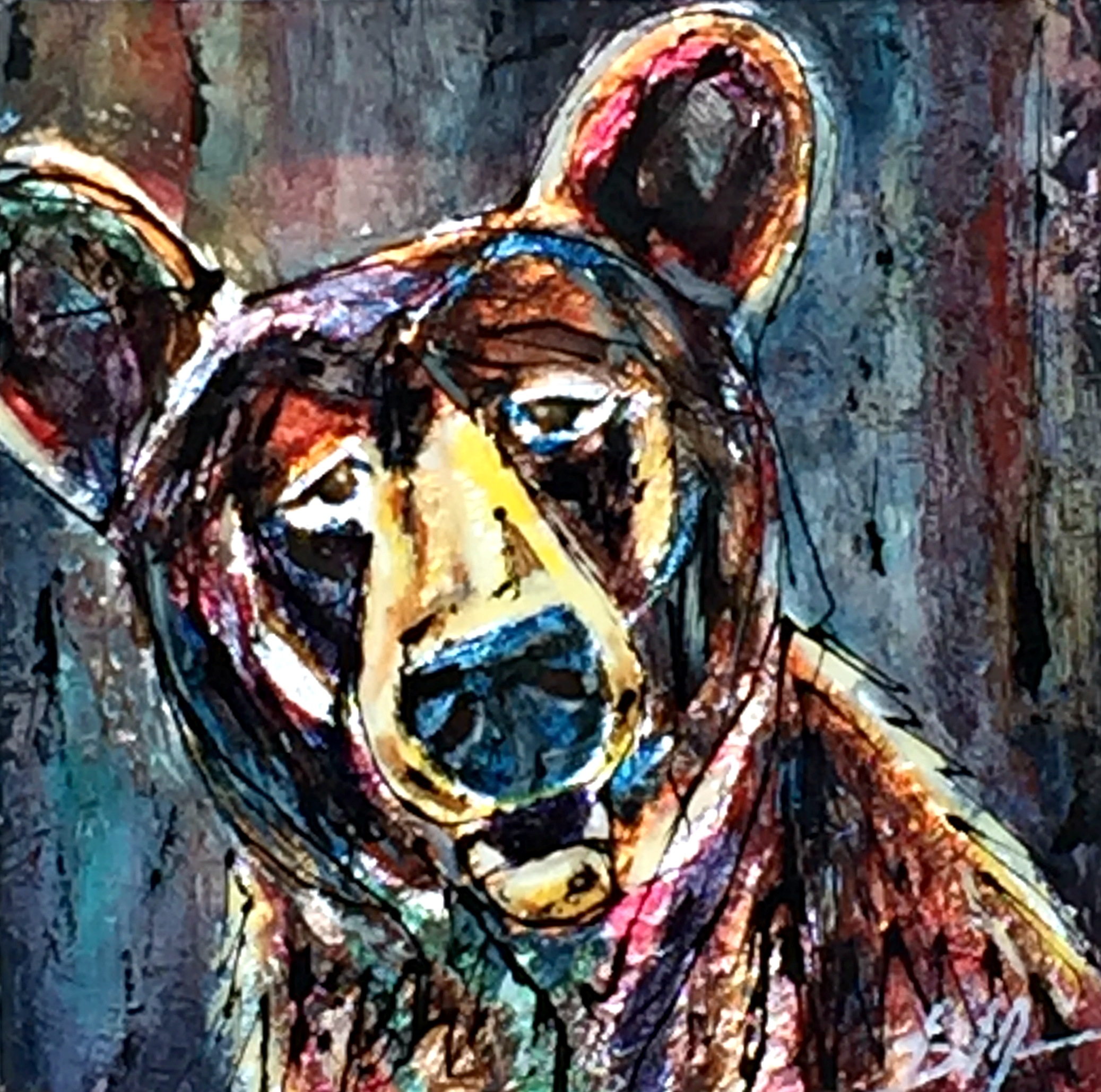 Friday is Here, mixed media bear painting by David Zimmerman | Effusion Art Gallery + Cast Glass Studio, Invermere BC