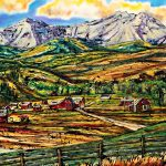 Late Summer Views, mixed media landscape painting by David Zimmerman | Effusion Art Gallery + Cast Glass Studio, Invermere BC