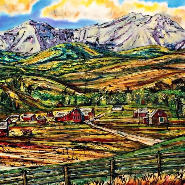 Late Summer Views, mixed media landscape painting by David Zimmerman   Effusion Art Gallery + Cast Glass Studio, Invermere BC