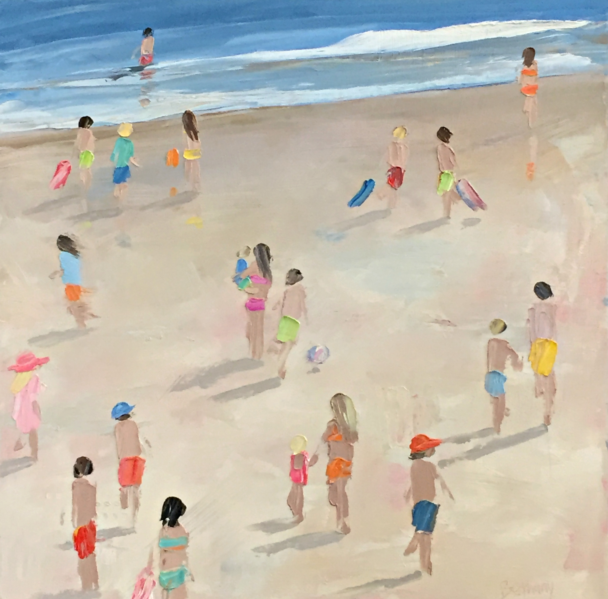 Barefoot and Free, beach painting by Bethany Harper Williams | Effusion Art Gallery + Cast Glass Studio, Invermere BC