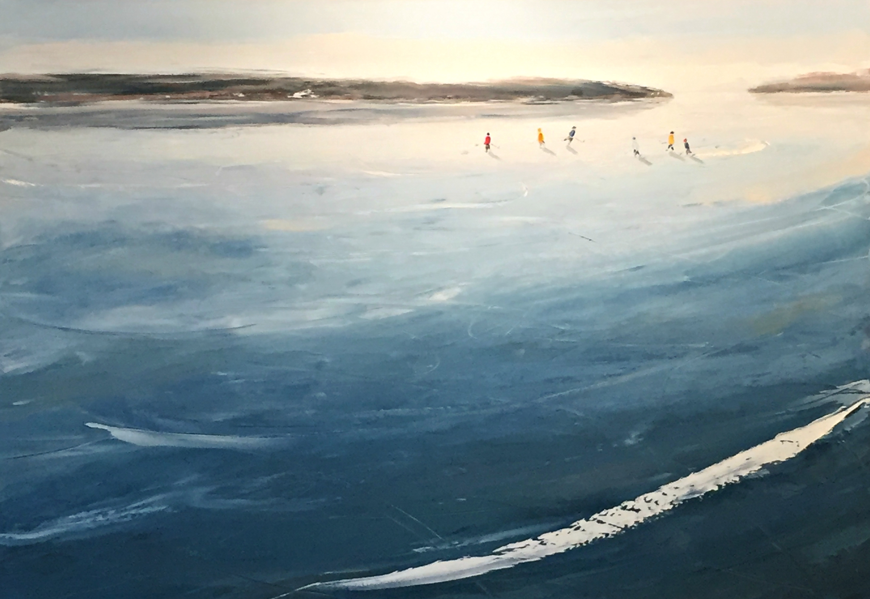 Winter Skate - 3 on 3, hockey painting by Bethany Harper Williams | Effusion Art Gallery + Cast Glass Studio, Invermere BC
