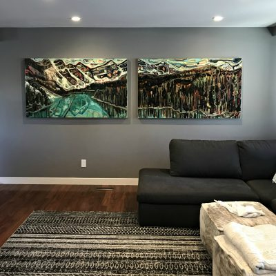 Moraine Lake in June, acrylic landscape painting by Sandy Kunze   Effusion Art Gallery + Cast Glass Studio, Invermere BC