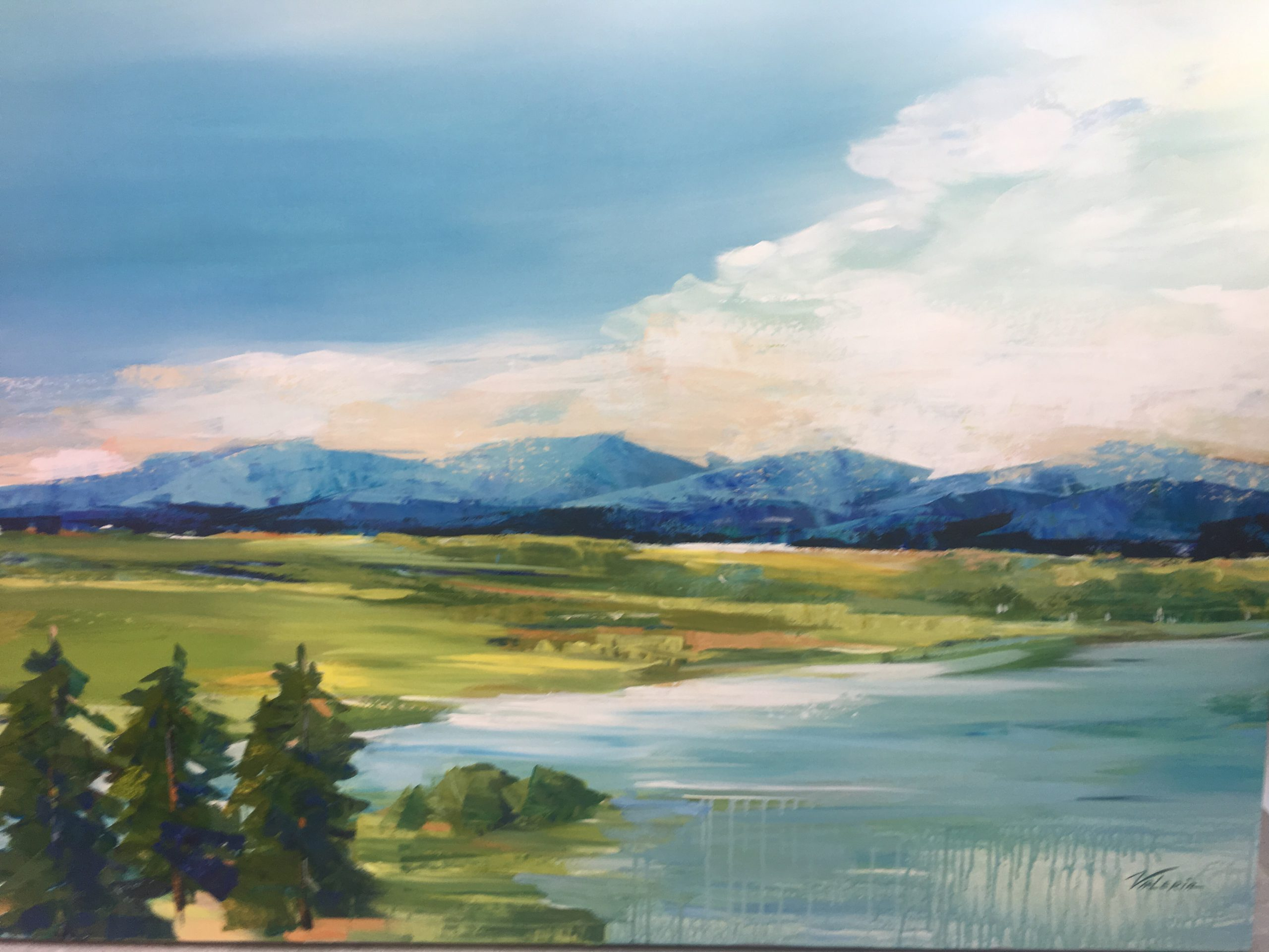 Melody of the Mountains, acrylic landscape painting by Valeria Mravyan   Effusion Art Gallery + Cast Glass Studio, Invermere BC