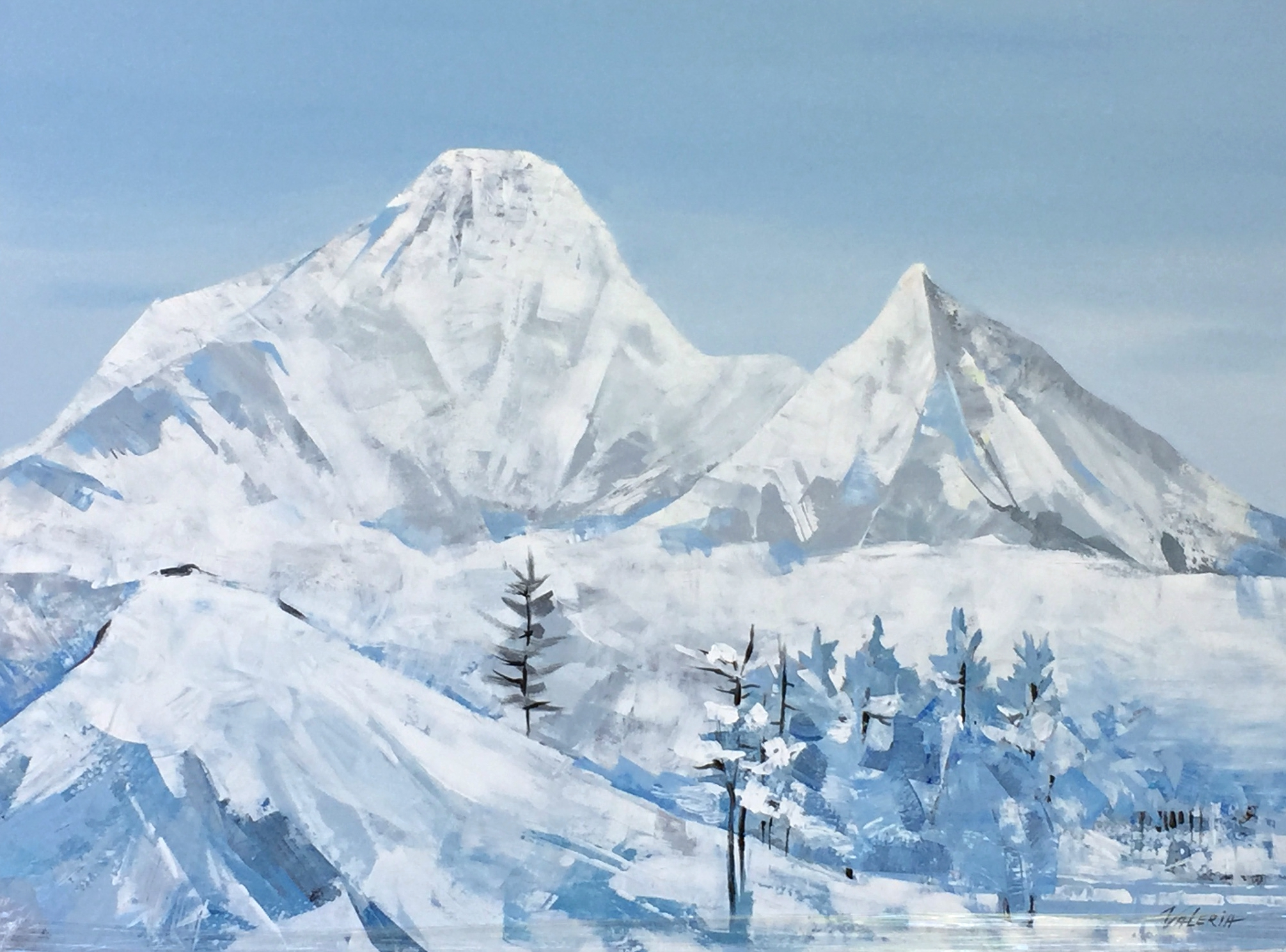 Rockies on My Mind, acrylic landscape painting by Valeria Mravyan | Effusion Art Gallery + Glass Studio, Invermere BC