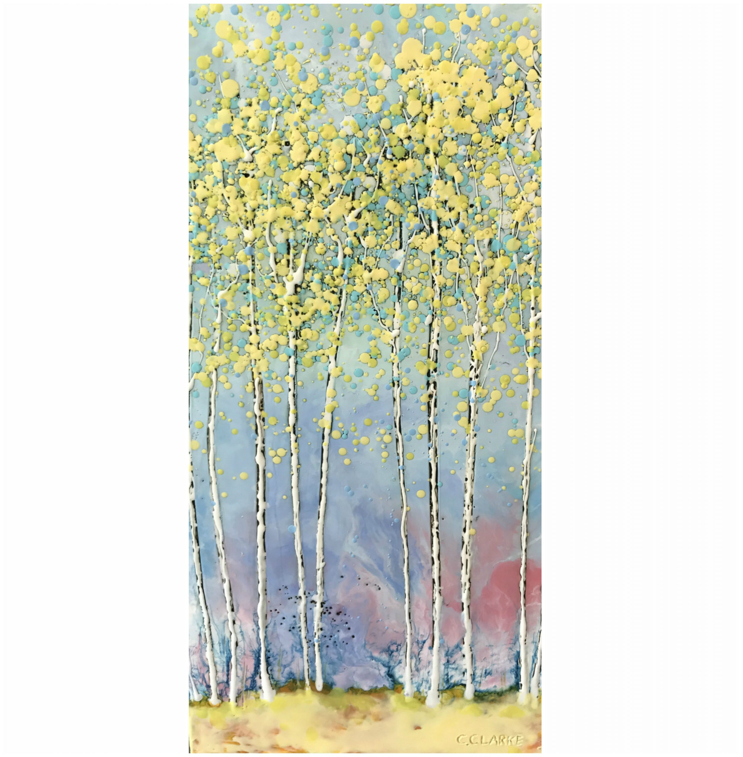 New Horizon, encaustic tree painting by Catharine Clarke   Effusion Art Gallery + Cast Glass Studio, Invermere BC