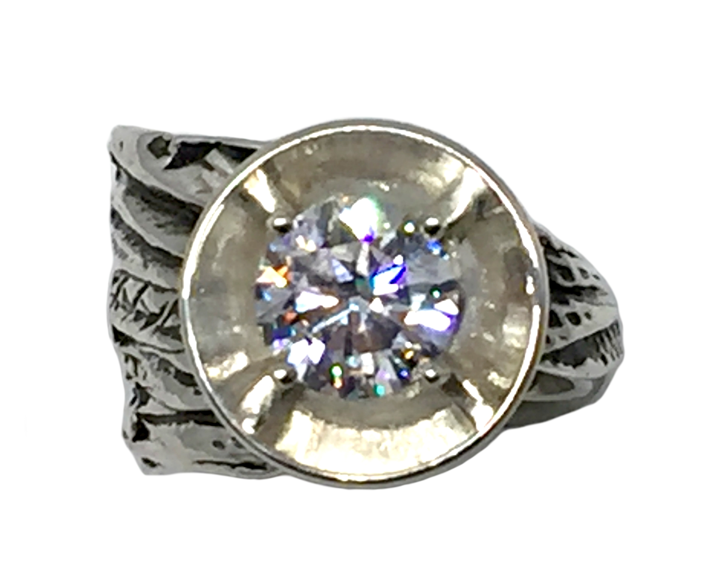 Sterling silver and CZ ring by Karyn Chopik | Effusion Art Gallery + Cast Glass Studio, Invermere BC