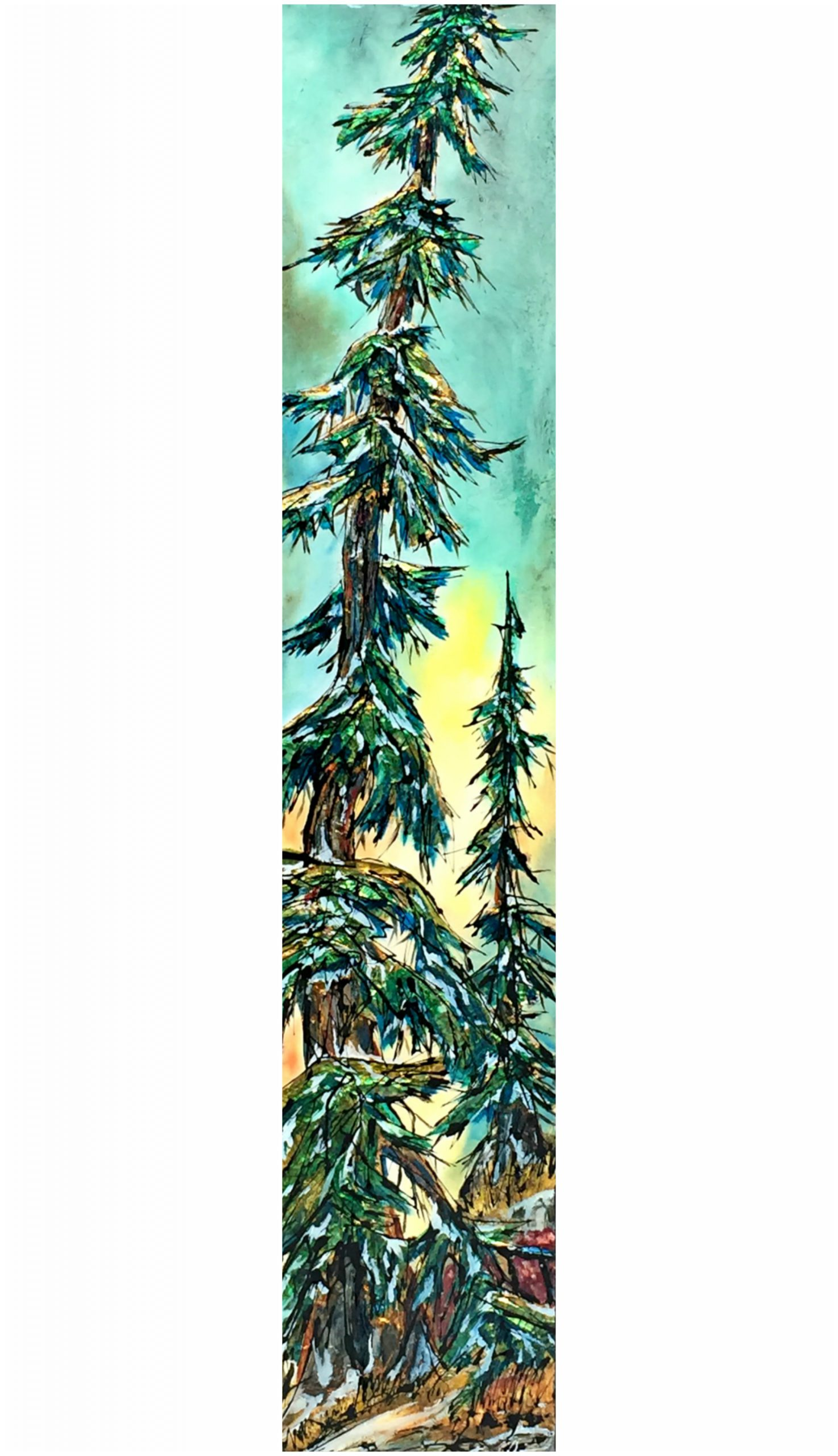 Indecision, mixed media tree painting by David Zimmerman | Effusion Art Gallery + Cast Glass Studio, Invermere BC
