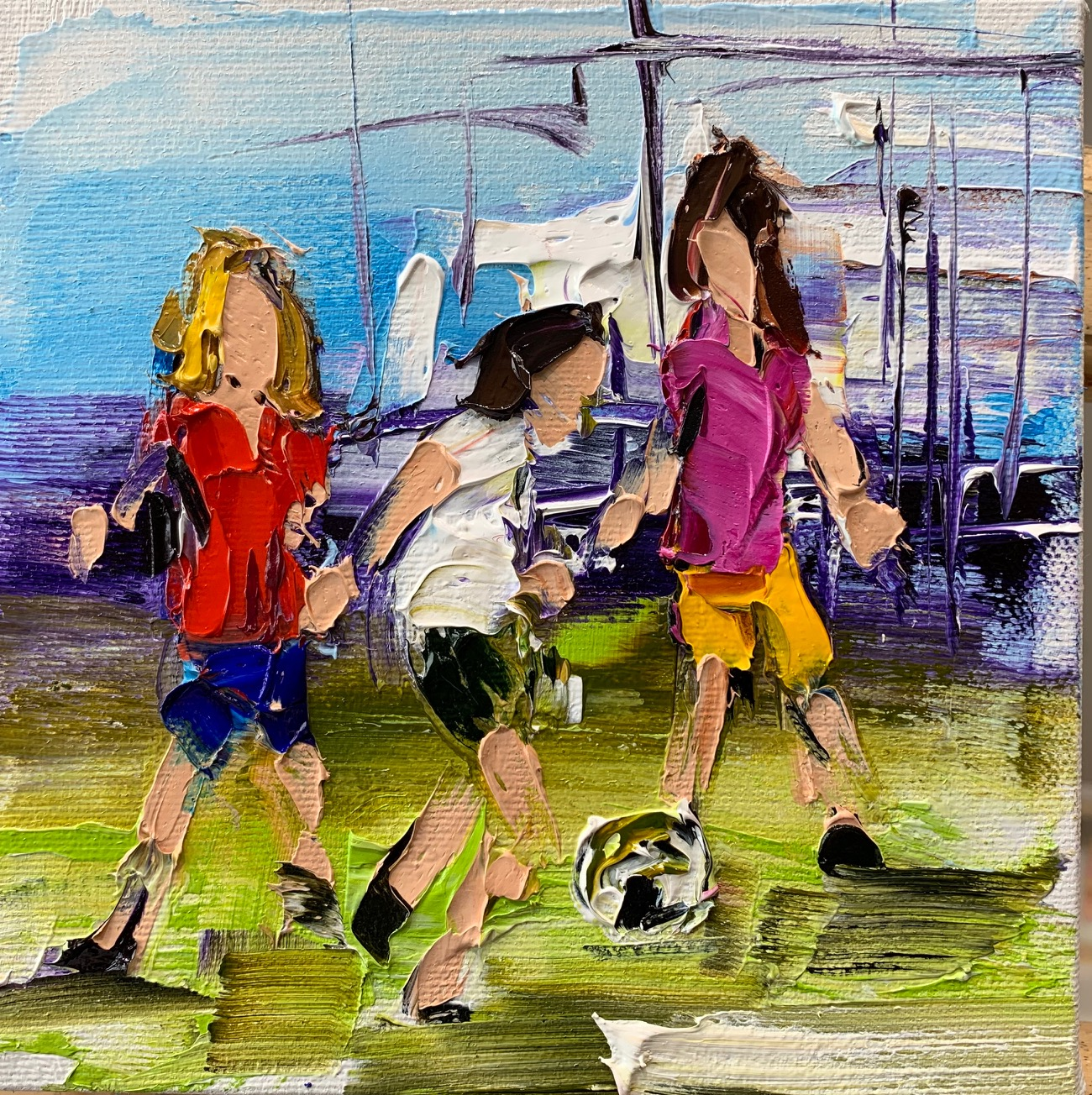 Fun in the Sun 1, oil soccer painting by Kimberly Kiel | Effusion Art Gallery + Cast Glass Studio, Invermere BC