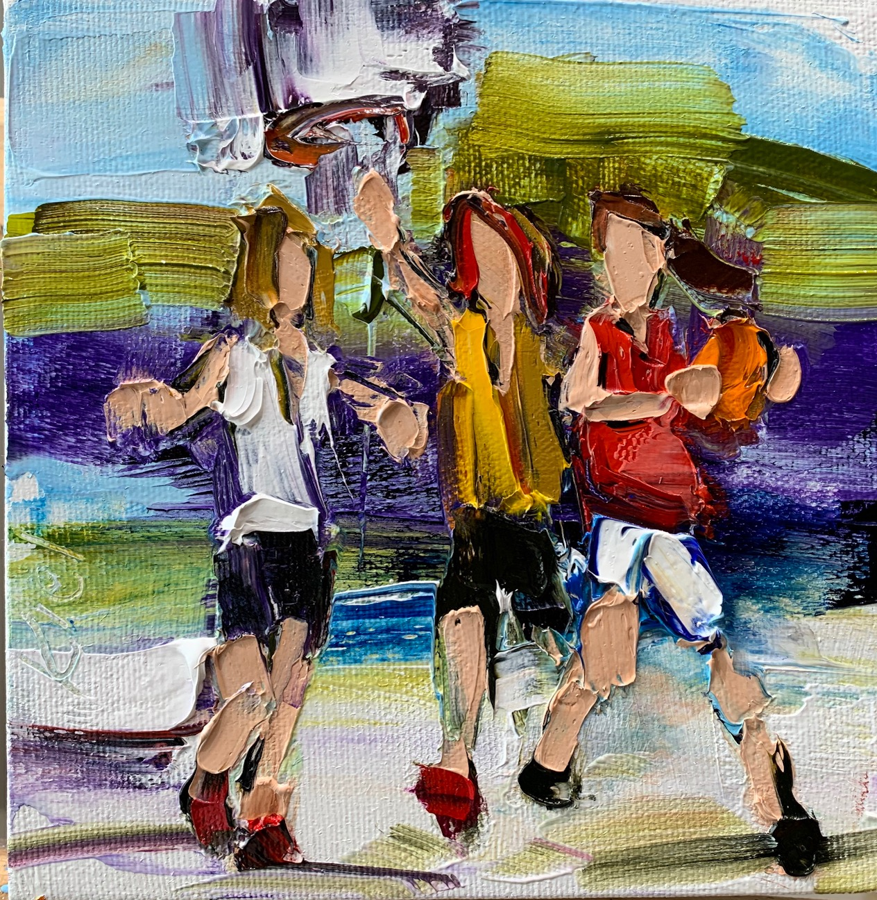 Fun in the Sun 2, oil basketball painting by Kimberly Kiel | Effusion Art Gallery + Cast Glass Studio, Invermere BC